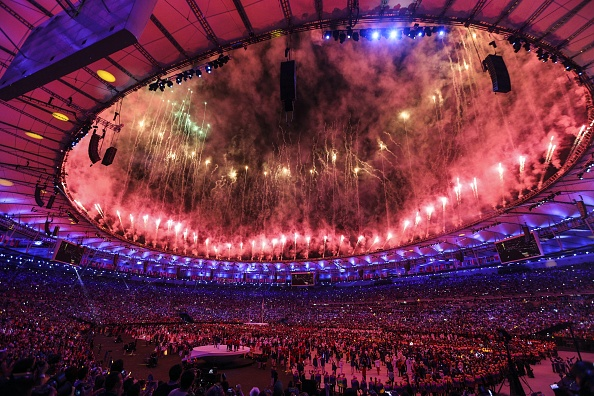 Fireworks and a laser show are performed during the Opening Ceremony of the Rio 2016 Olympic Games at Maracana Stadium in Rio de Janeiro, Brazil on August 05, 2016.