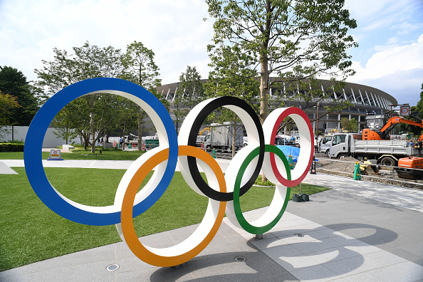 The Olympic Rings are displayed in front of the New National Stadium, where construction continues on the day marking one year to go until the 2020 Olympic Games in Tokyo, Japan, on July 24, 2019.