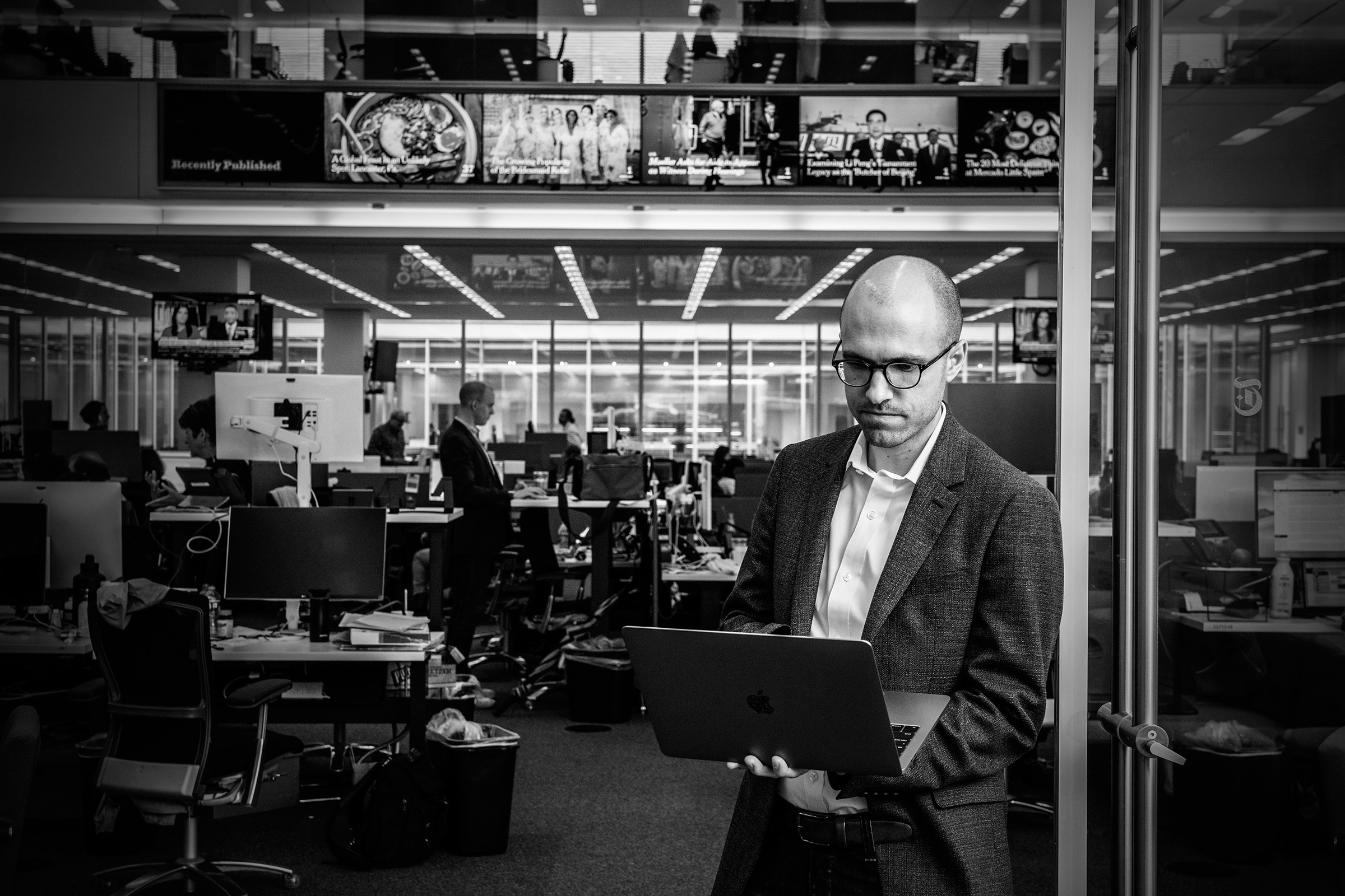 New York Times publisher A.G. Sulzberger in the newsroom