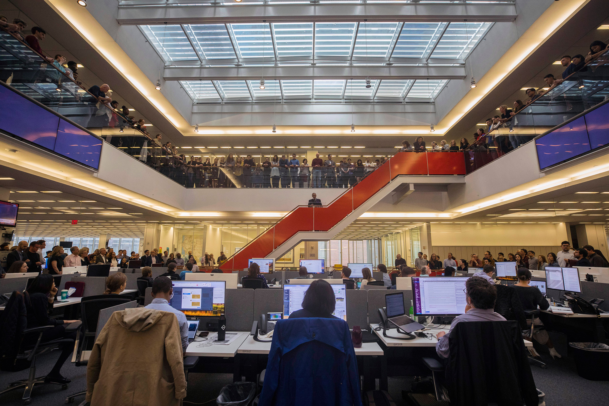 The newsroom gathers in April for Pulitzer announcements