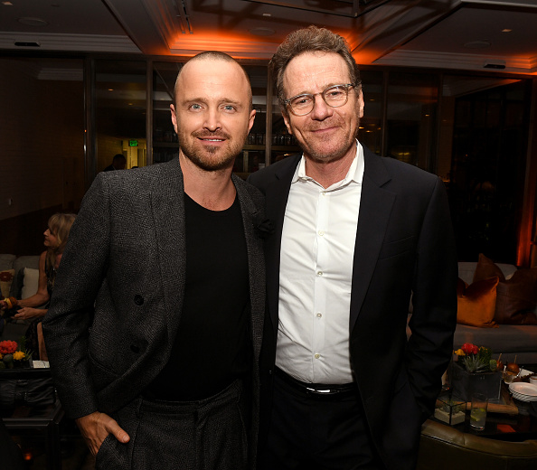 Aaron Paul and Bryan Cranston pose at the after party for the premiere of Netfflix's  El Camino: A Breaking Bad Movie  at Baltaire in Los Angeles, California on October 07, 2019.