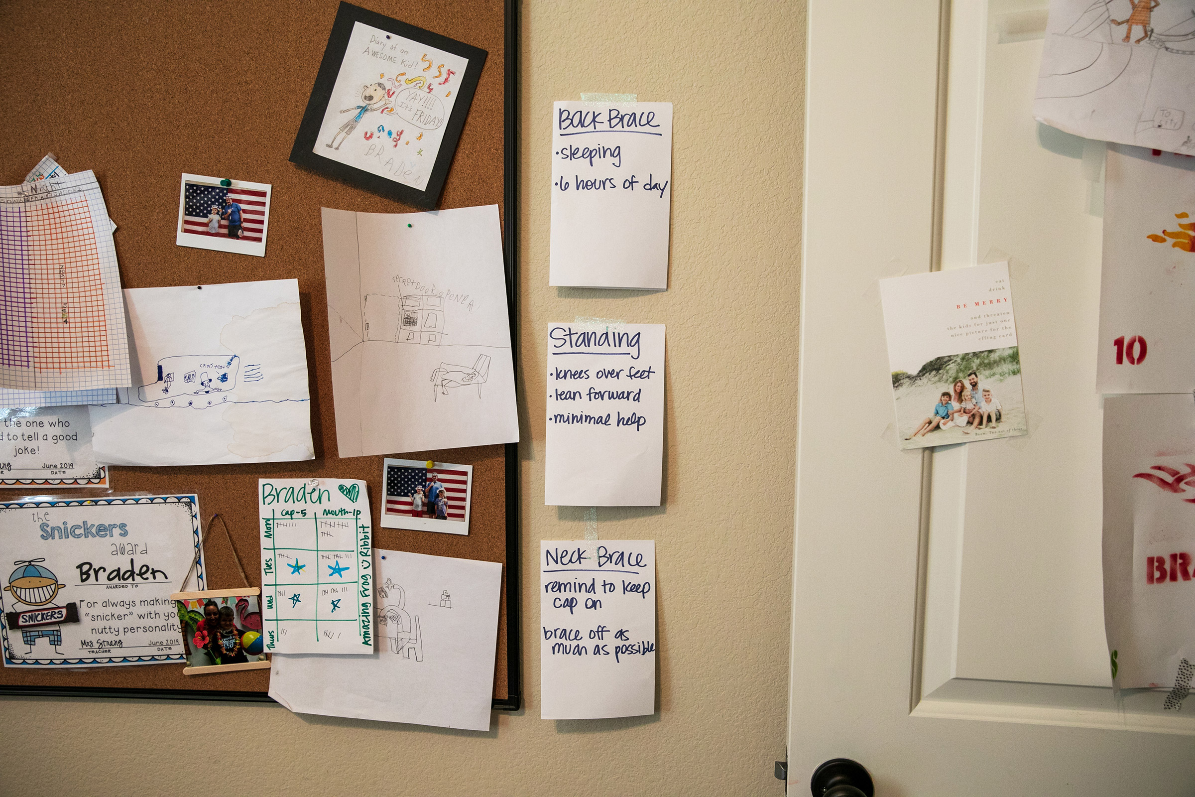 Some reminders of Braden's treatment hang on the wall in the Scott family home.