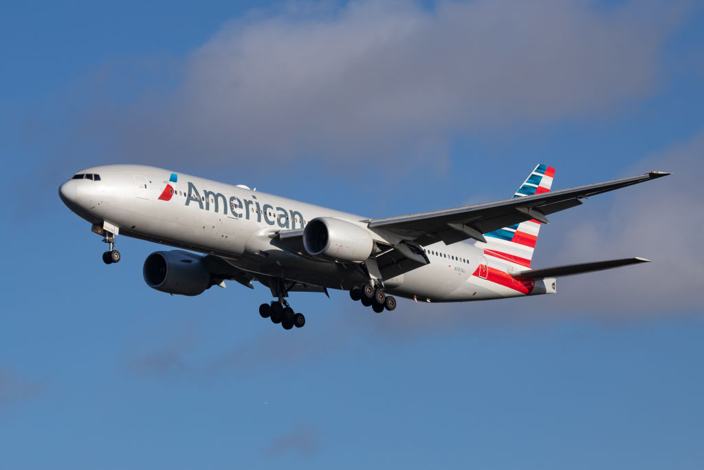 American Airlines Boeing 777-200 aircraft on final approach, while landing at London Heathrow International Airport LHR EGLL in England, UK on 23 August 2019.
