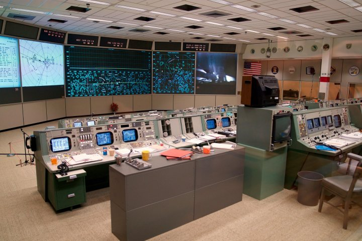 The inside of Apollo Mission Control Center in Texas.