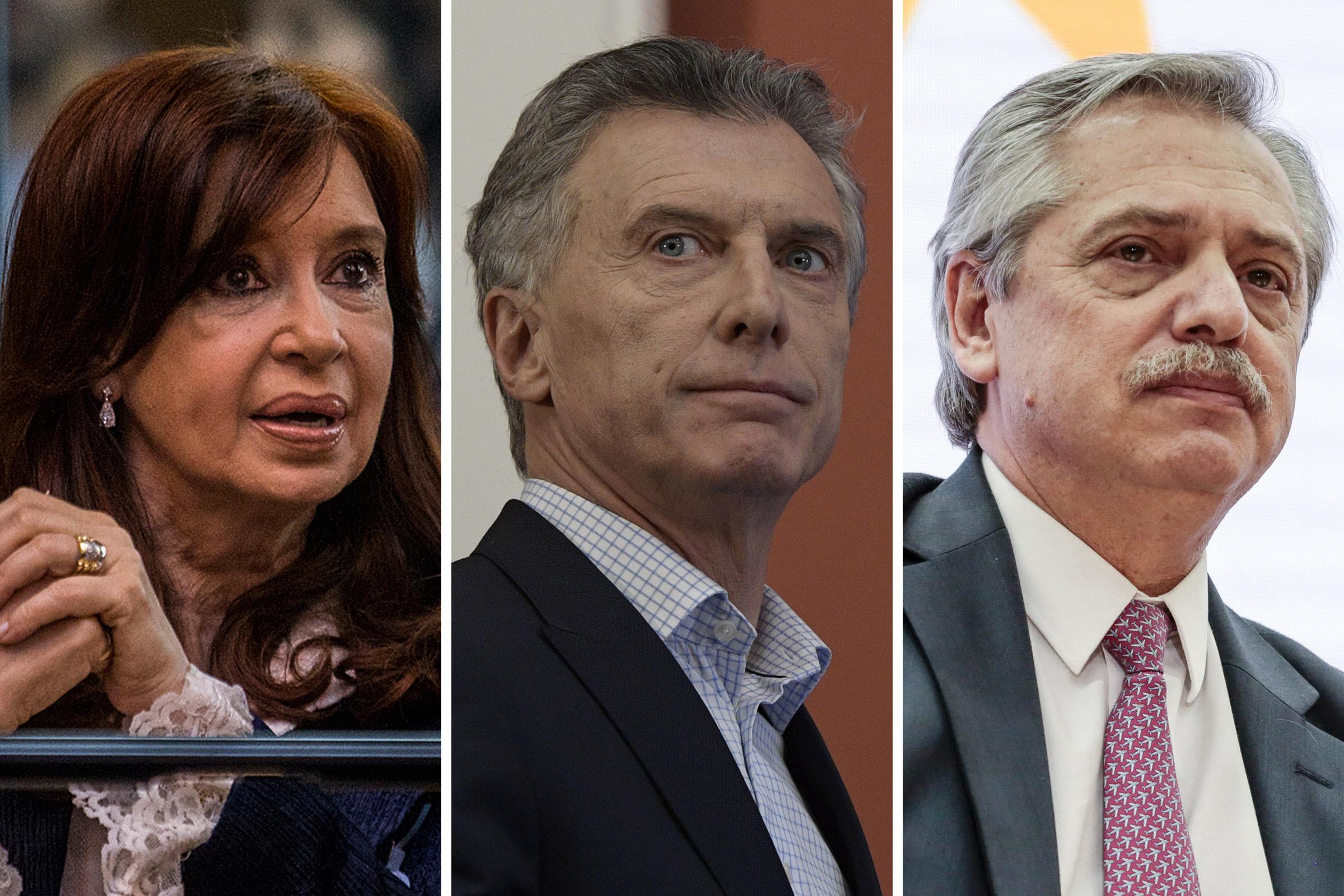 Former President and current Senator Cristina Fernandez; Argentina's President Mauricio Macri; Alberto Fernandez, presidential candidate for the Frente de Todos electoral coalition.