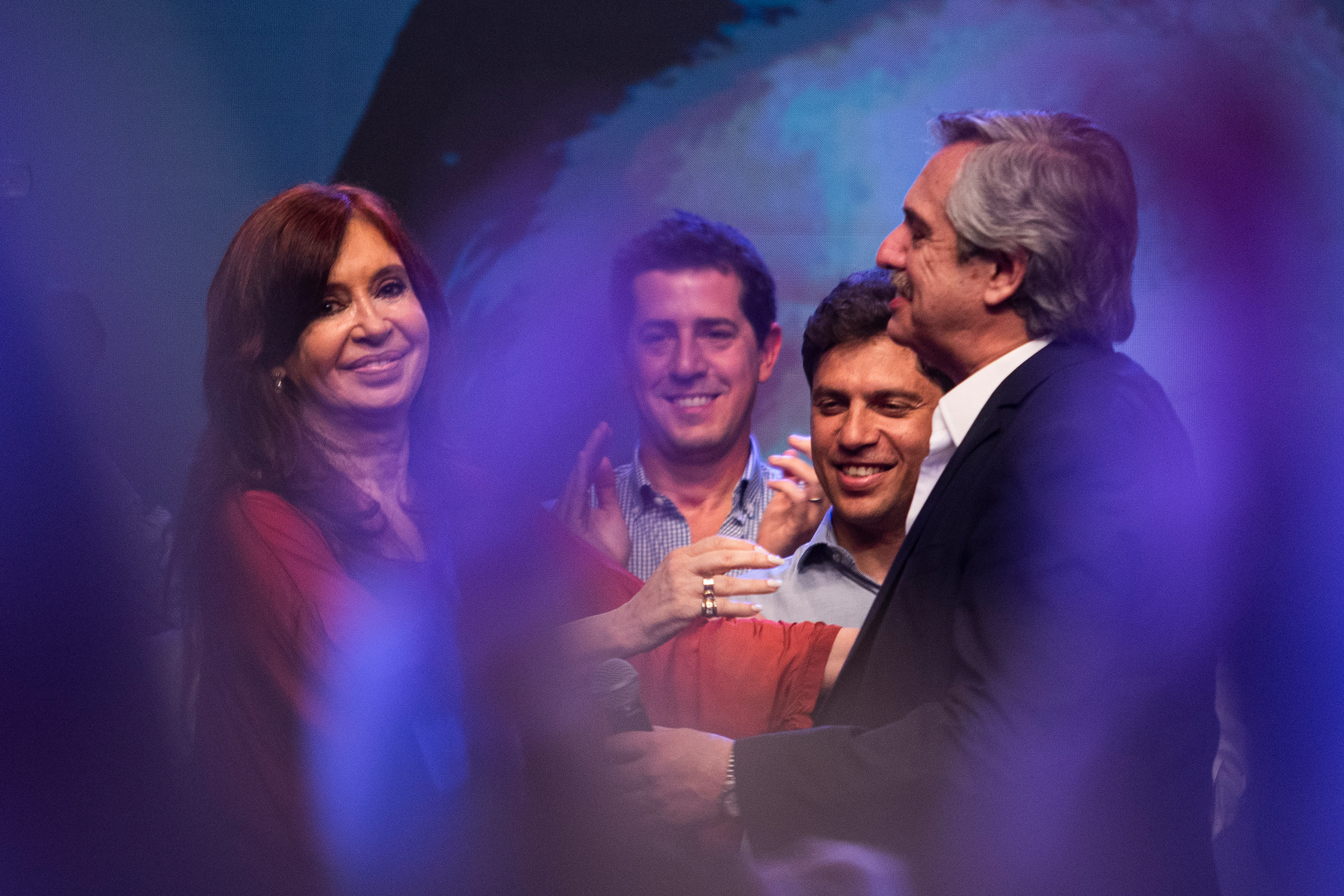 Newly elected President of Argentina Alberto Fernandez and his running mate Cristina Fernández de Kirchner stand on stage after winning in the presidential elections in Buenos Aires, on Oct. 27.