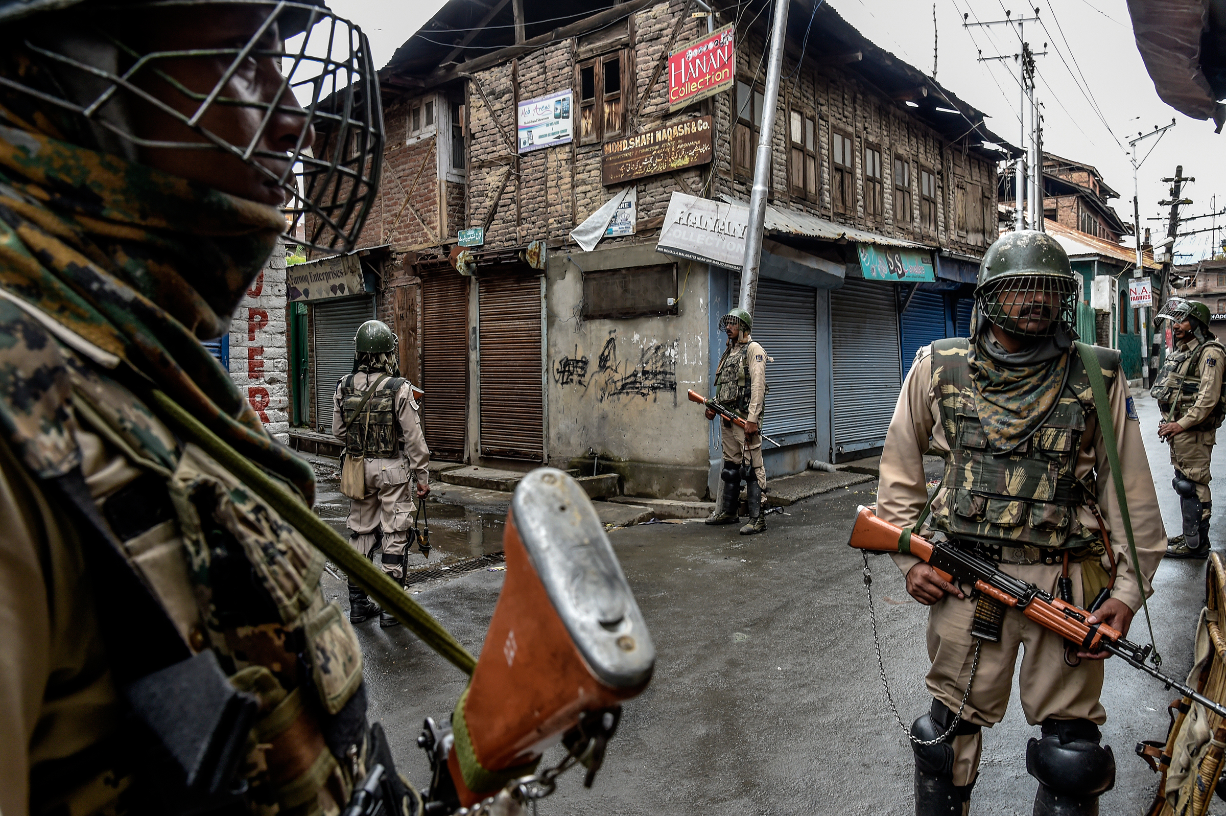 Security forces patrol in Srinagar on Aug. 10, 2019.