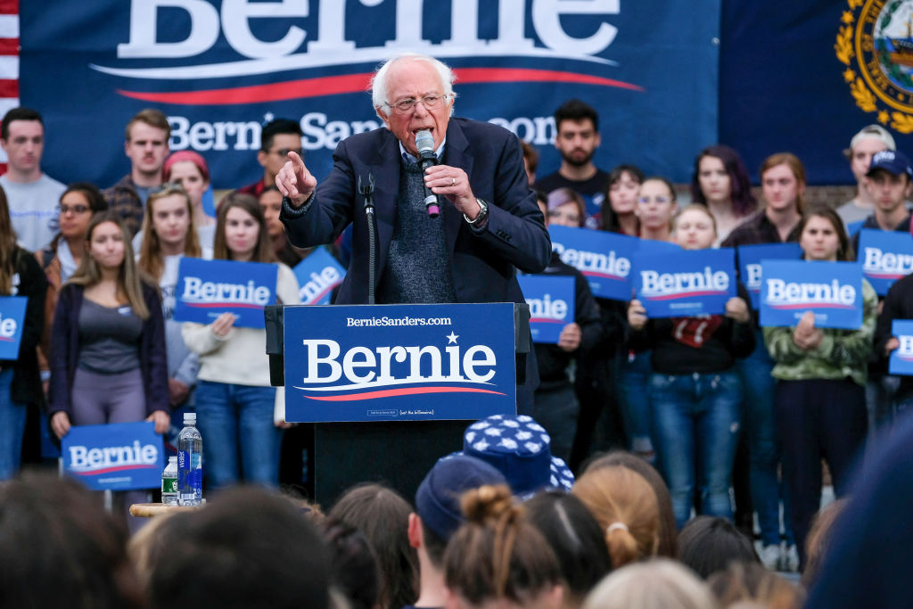 Vermont senator and presidential candidate Bernie Sanders campaigns at the University of New Hampshire in Durham.