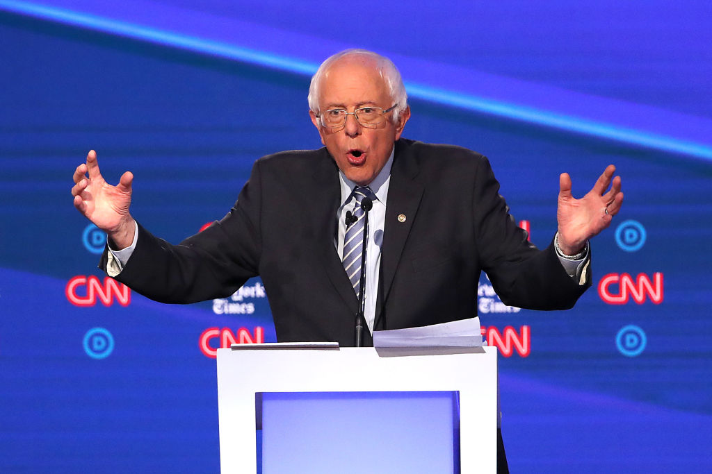 Sen. Bernie Sanders (I-VT) speaks during the Democratic Presidential Debate at Otterbein University on Oct. 15, 2019 in Westerville, Ohio.
