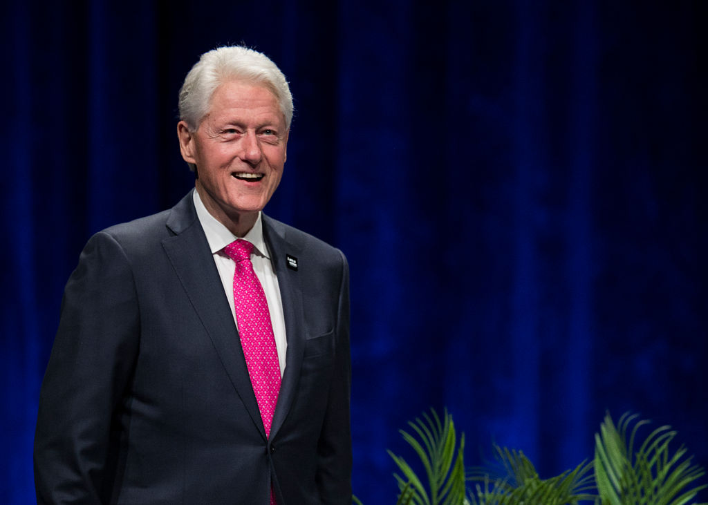 Former President Bill Clinton on stage during  An Evening with President Bill Clinton and former Secretary of State Hillary Rodham Clinton  at Rogers Arena on May 02, 2019 in Vancouver, Canada.