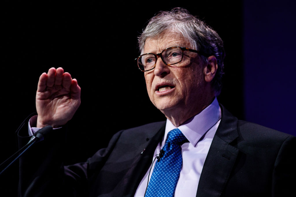 Bill Gates makes a speech at the Malaria Summit in London on April 18, 2018.