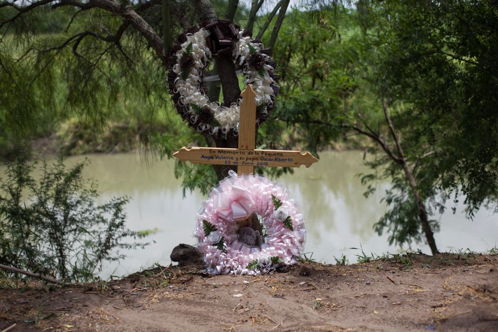 Souvenir of little Angie Valeria and her father Oscar Alberto - 23 June 2019 , stands on the cross on the banks of the Rio Grande, where almost two-year-old Valeria and her father from El Salvador drowned this summer, trying to cross the border illegally from Mexico to the U.S.