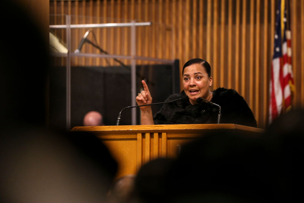 Suffolk County District Attorney Rachael Rollins speaks during the annual Martin Luther King Jr. Convocation at the Twelfth Baptist Church in the Roxbury neighborhood of Boston on Jan. 13, 2019. On Oct. 29, Rollins announced Suffolk County is charging Inyoung You, 21, with involuntary manslaughter for urging her boyfriend, Alexander Urtula, 22, to kill himself. Urtula died by suicide on May 20, 2019.
