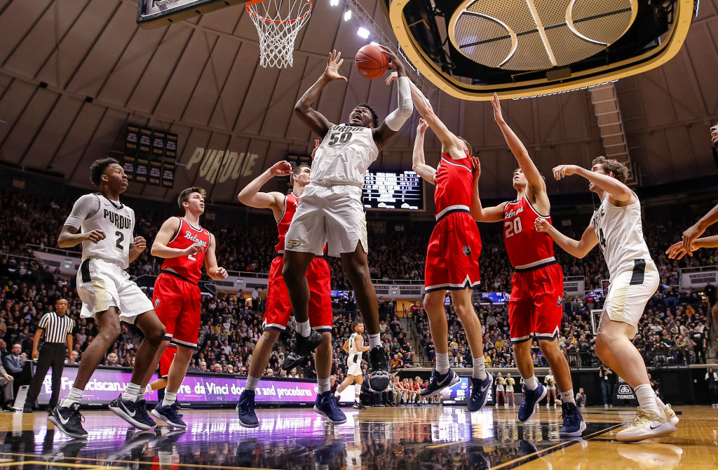 Trevion Williams #50 of the Purdue Boilermakers grabs a rebound during the game against the Belmont Bruins at Mackey Arena on December 29, 2018 in West Lafayette, Indiana.
