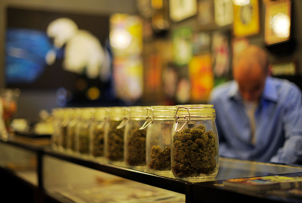 Jars full of medical marijuana at Sunset Junction medical marijuana dispensary in Los Angeles.