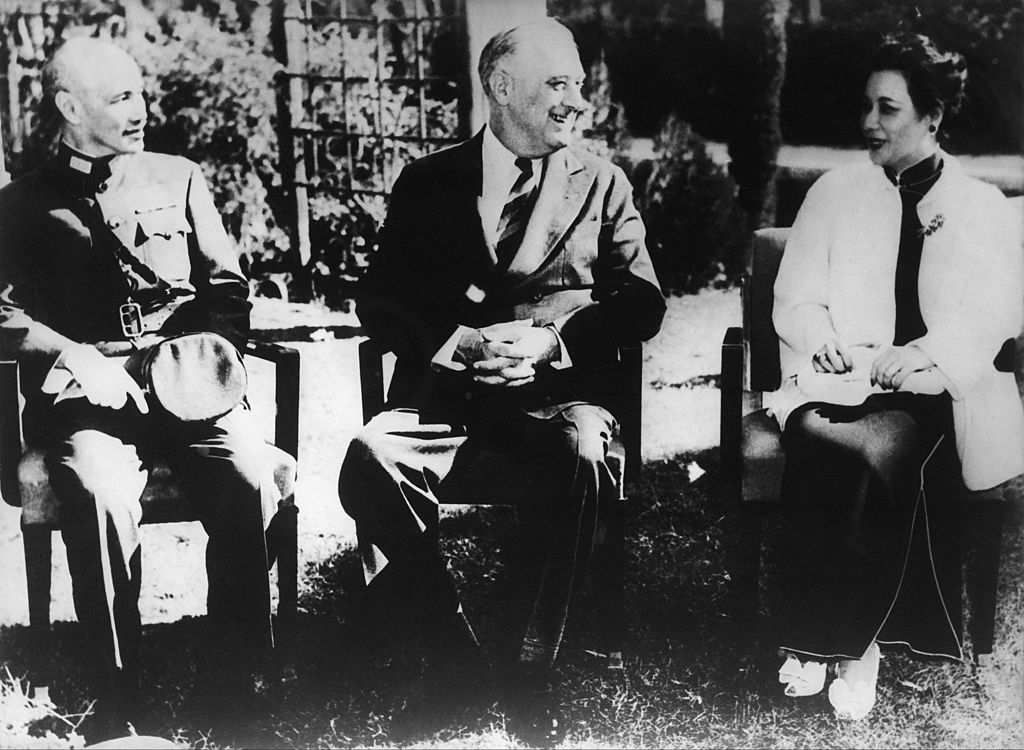On Nov. 22 1943, The President Of The U.S.A, Franklin D. Roosevelt meets General Chang Kai-Shek and his wife Soong May-Ling in Cairo to arrange the conditions to be proposed to Japan after the Allied Victory, including the return of all land conquered by aggression.