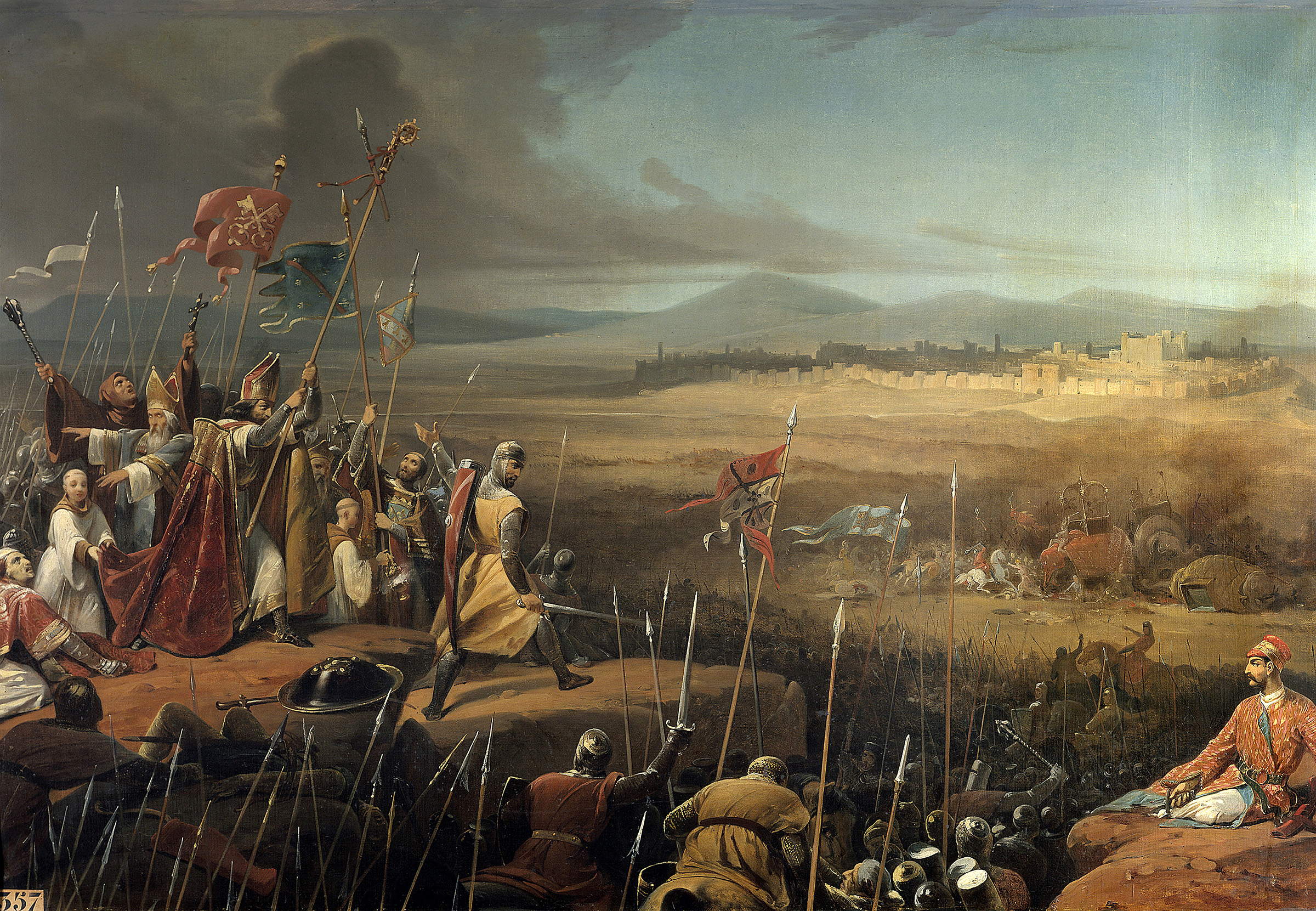 Painting by Frederic Schopin (1804-1880) depicting the First Crusade —  Battle delivered under the walls of Antioch between the crusaders led by Bohemond and the army of Karbouka, general of the Sultan of Persia, June 1098