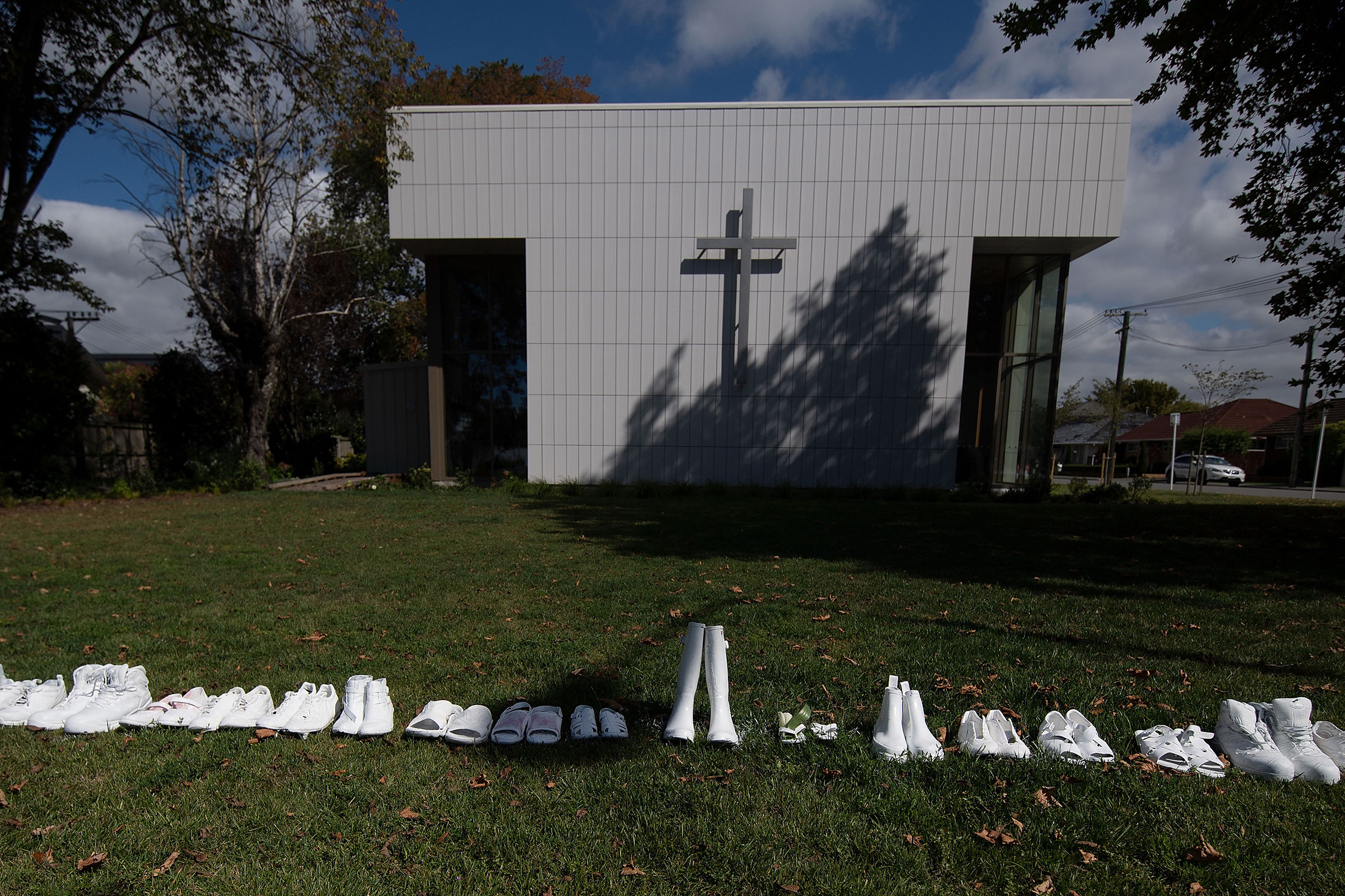 Fifty pairs of shoes lay outside the All Souls Church representing the 50 people gunned down at the two mosques in Christchurch on March 19, 2019.