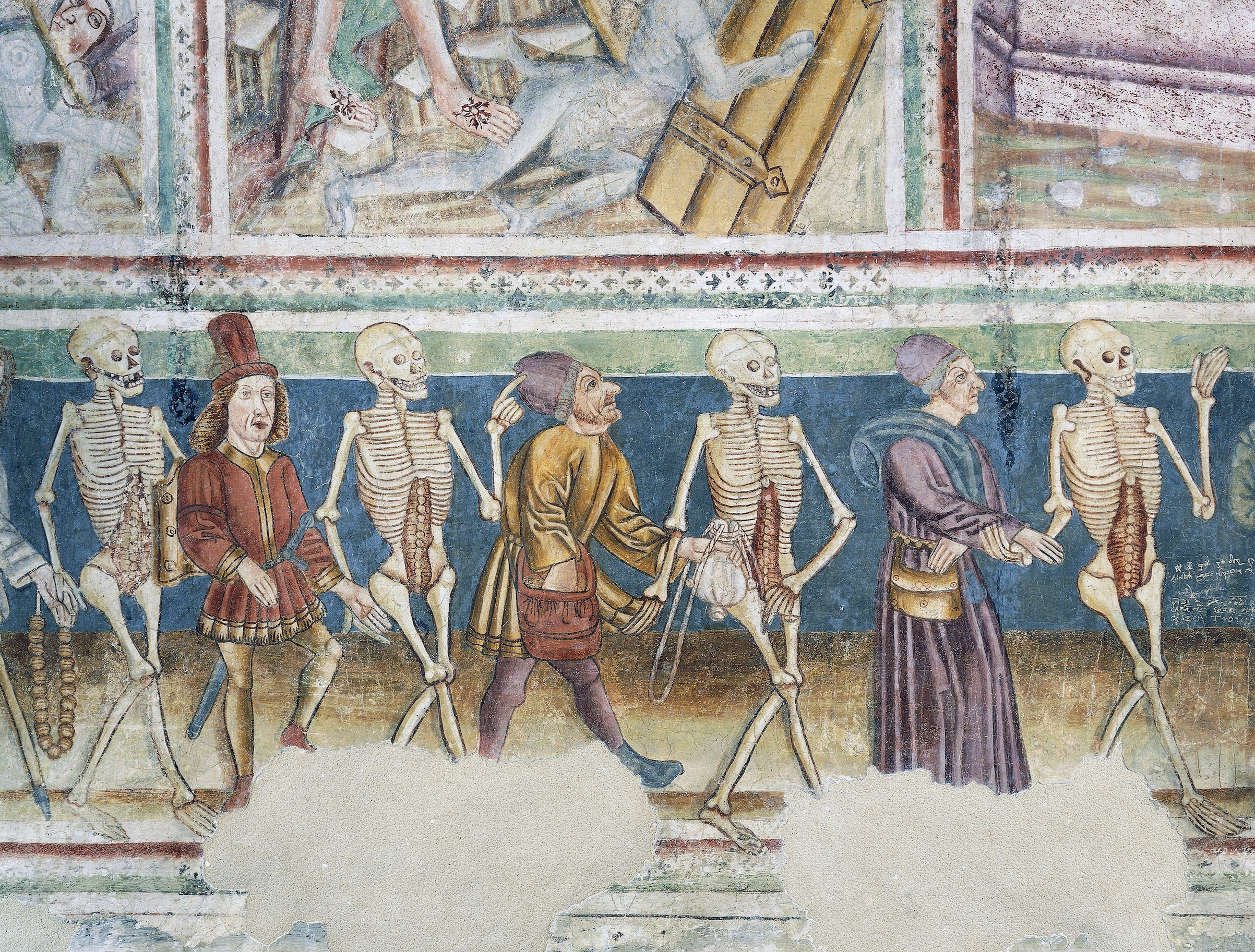 Death accompanying a merchant and a wealthy banker, detail from the Dance of Death (1490) frescoes by Janez Iz Kastva, Trinity Church, Hrastovlje, Slovenia.