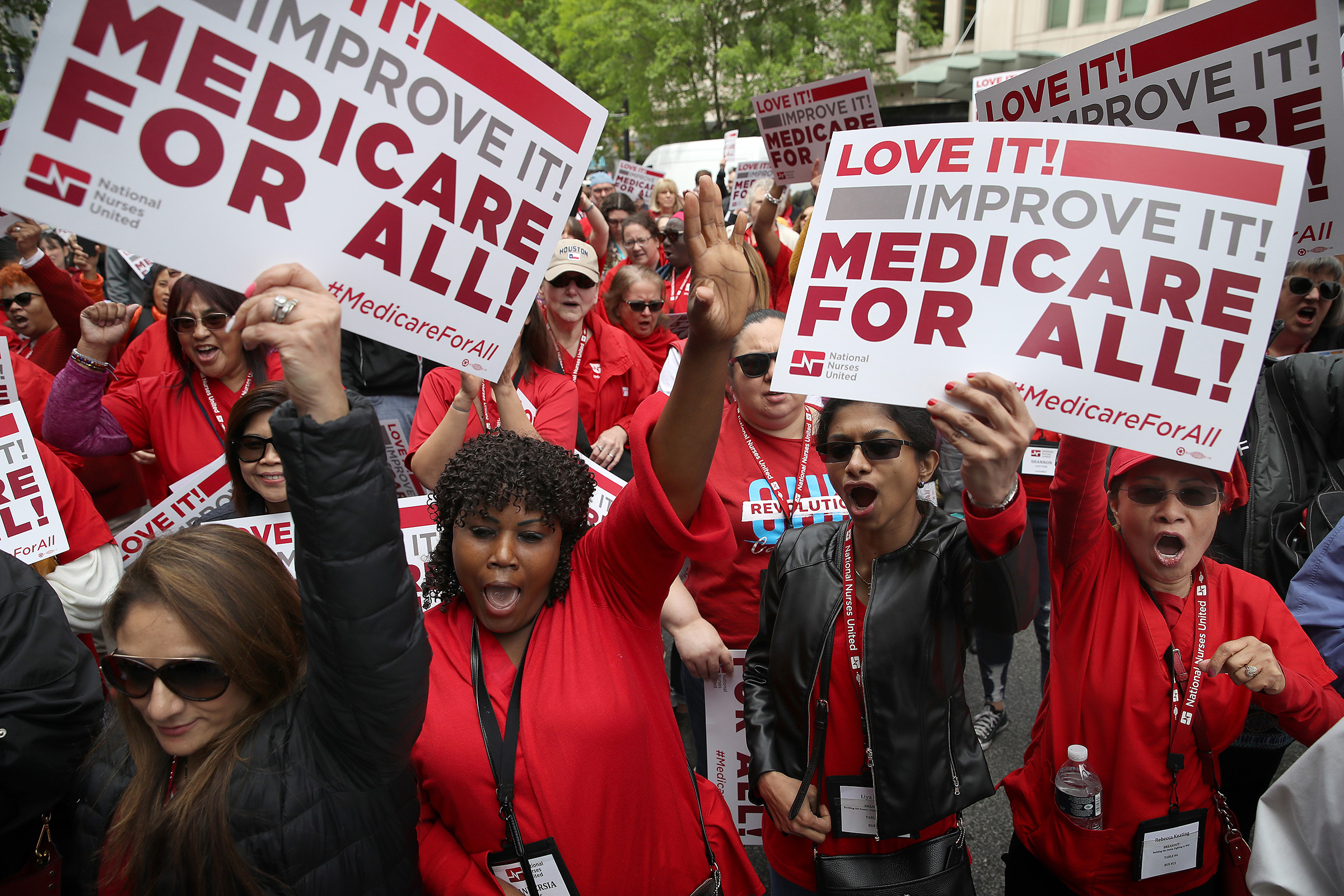 Nurses push Medicare for All at a Washington rally in April