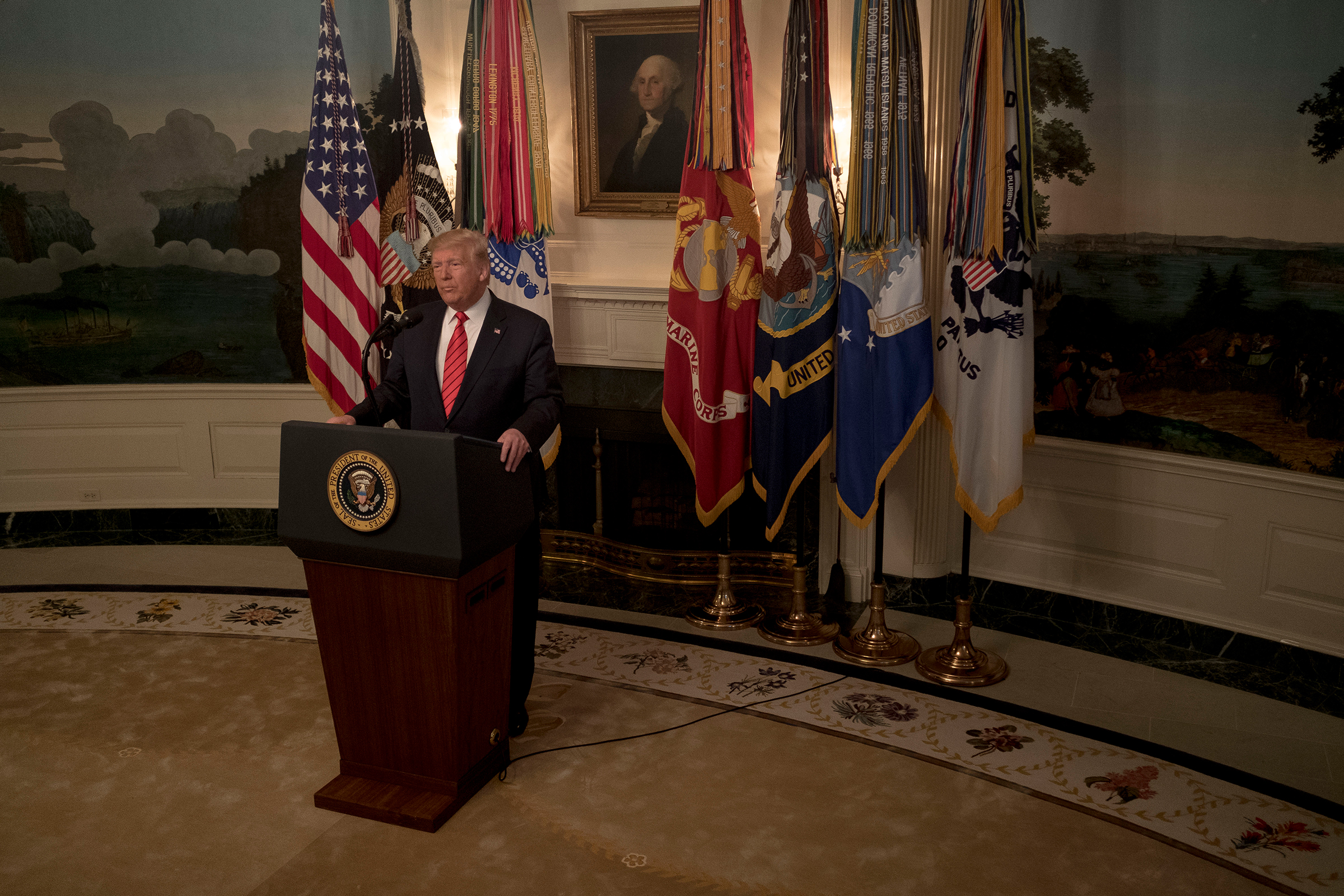 President Donald Trump announces the death of ISIS leader Abu Bakr al-Baghdadi, in a raid by American special operations forces in Syria, at the White House on Oct. 27, 2019.