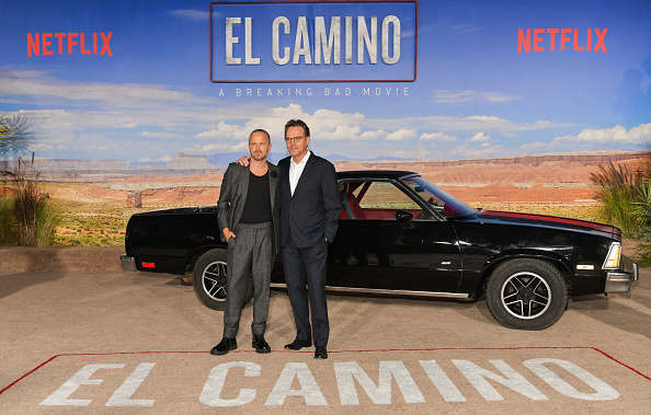 Aaron Paul and Bryan Cranston attend the premiere of Netflix's  El Camino: A Breaking Bad Movie  at Regency Village Theatre in Westwood, California on October 07, 2019.