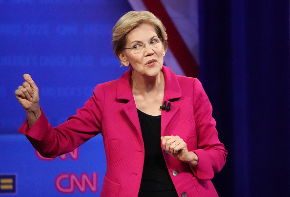 Democratic presidential candidate, Sen. Elizabeth Warren speaks at the Human Rights Campaign Foundation and CNN presidential town hall focused on LGBTQ issues in Los Angeles, Calif., on October 10, 2019.