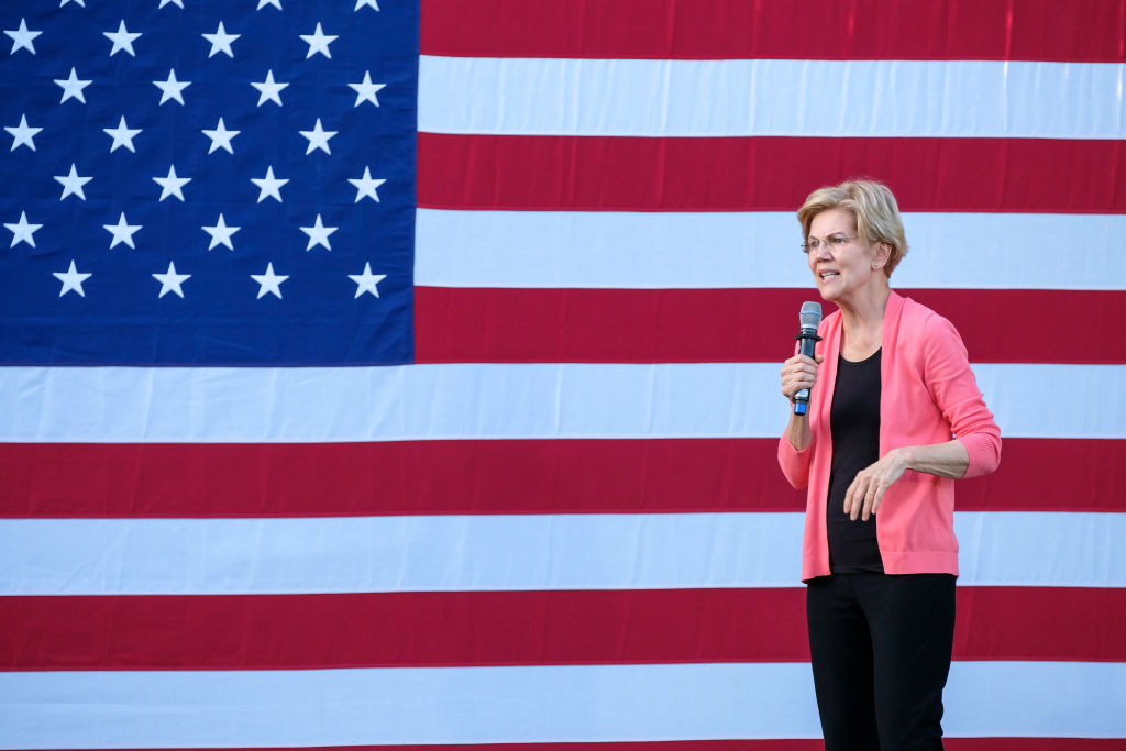 Massachusetts Senator and presidential candidate, Elizabeth Warren speaks at Keene State College a day after Congress announced the beginning of a formal impeachment inquiry of President Trump.