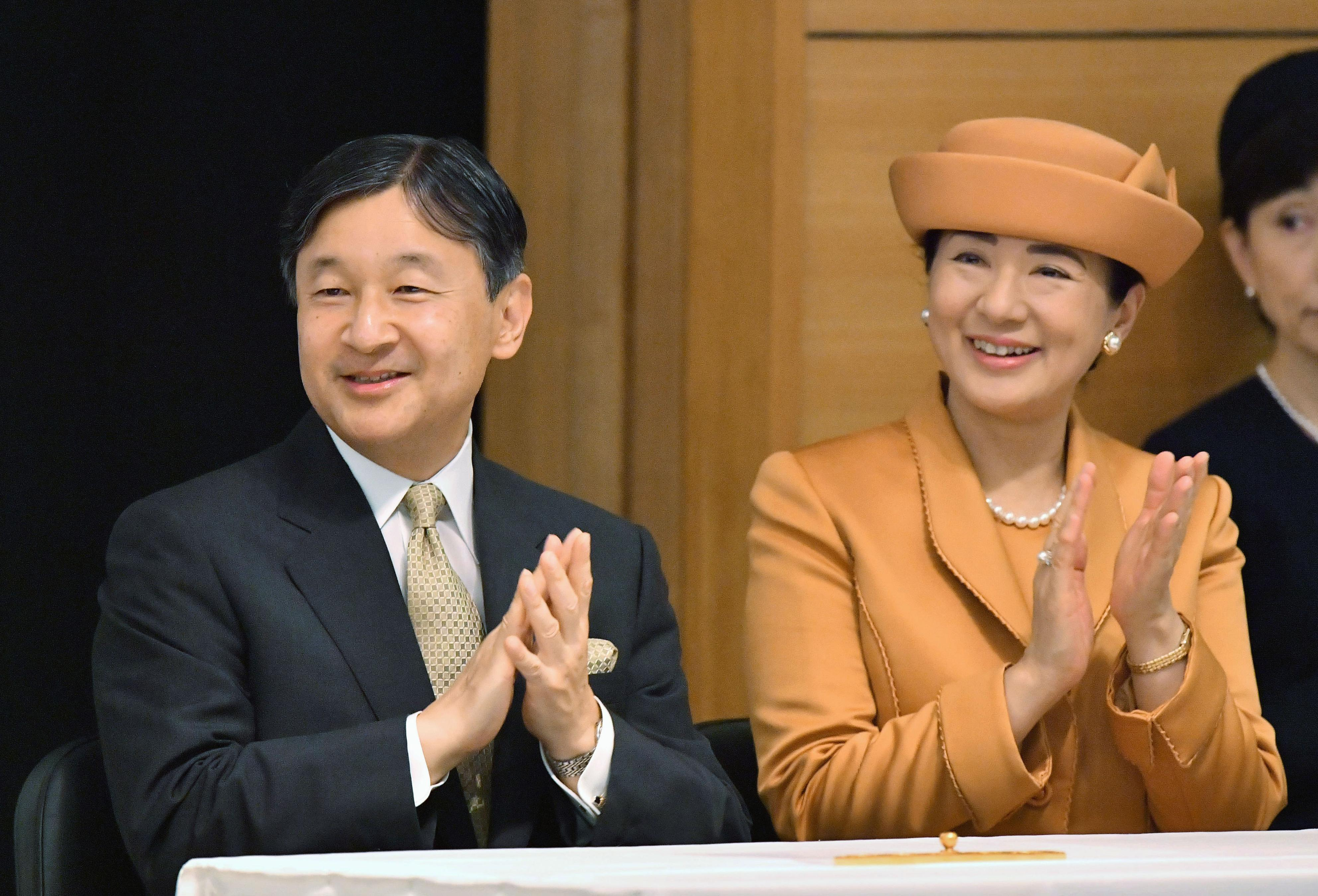 Japanese Emperor Naruhito and Empress Masako attend the 60th Convention of Nikkei and Japanese Abroad in Tokyo on Oct. 1, 2019.