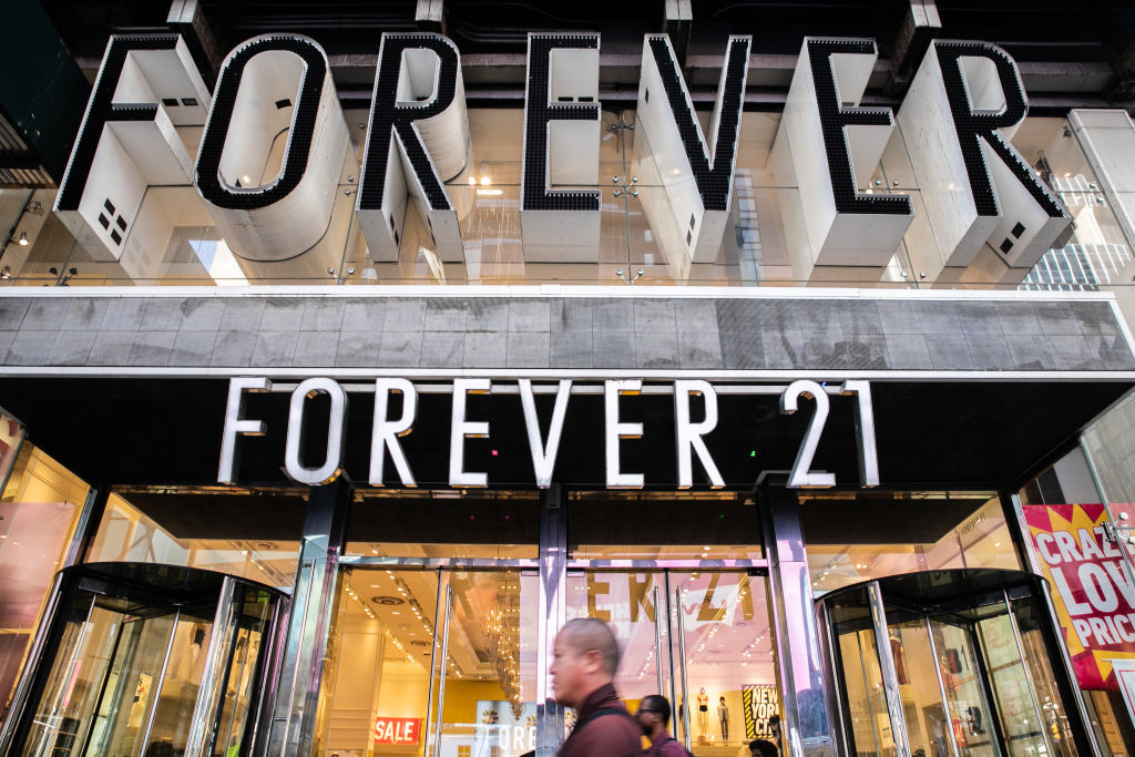 A Forever 21 Inc. store in the Times Square neighborhood of New York, U.S., on Thursday, Aug. 29, 2019. Photographer: Jeenah Moon/Bloomberg via Getty Images