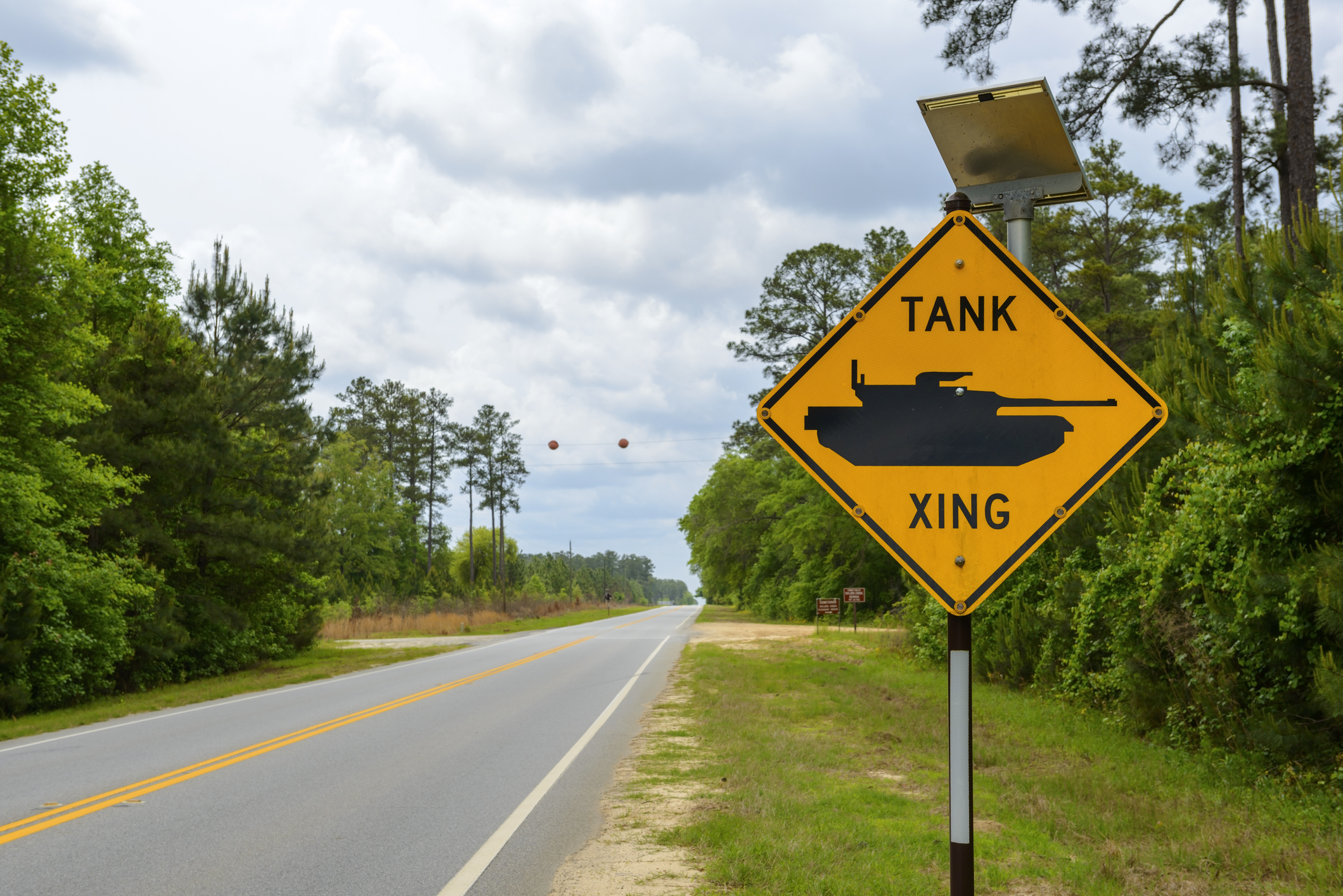 A sign warning of  tank crossing  ahead on a state highway passing through Fort Stewart, the largest U.S. Army installation east of the Mississippi River