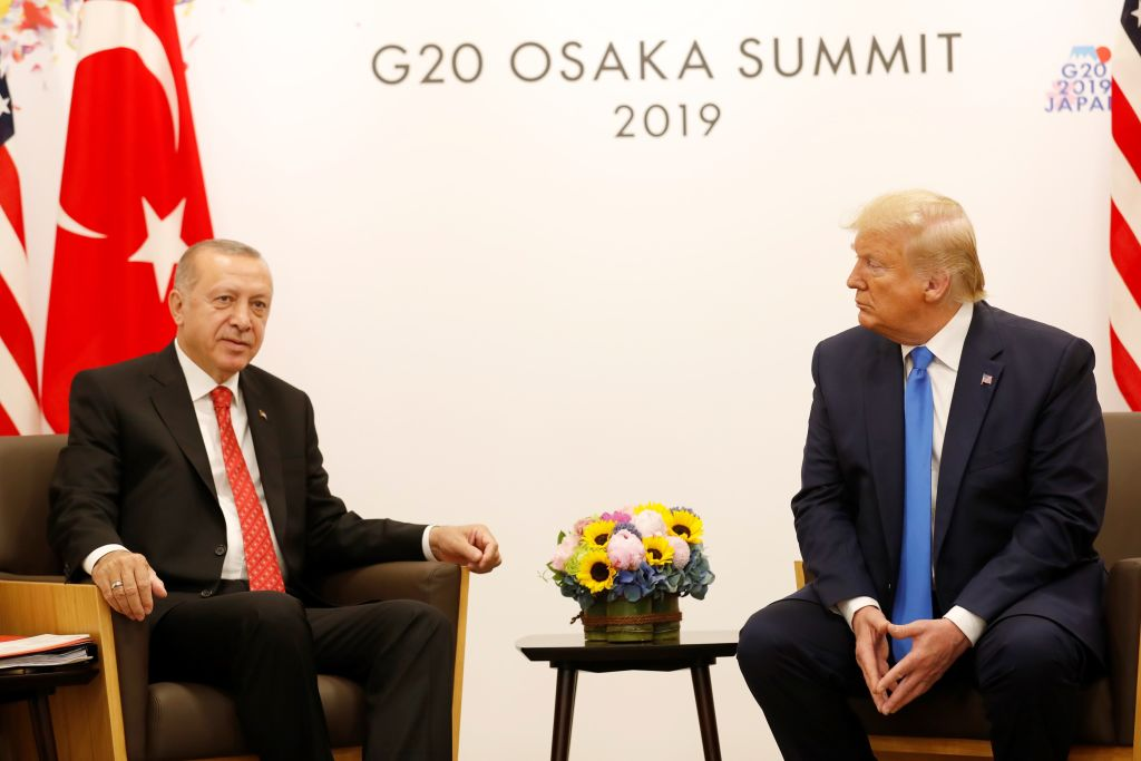 President of Turkey, Recep Tayyip Erdogan (L) meets with U.S President Donald Trump (R) on the sidelines of the second day of the G20 Summit at INTEX Osaka Exhibition Center in Osaka, Japan on June 29, 2019.