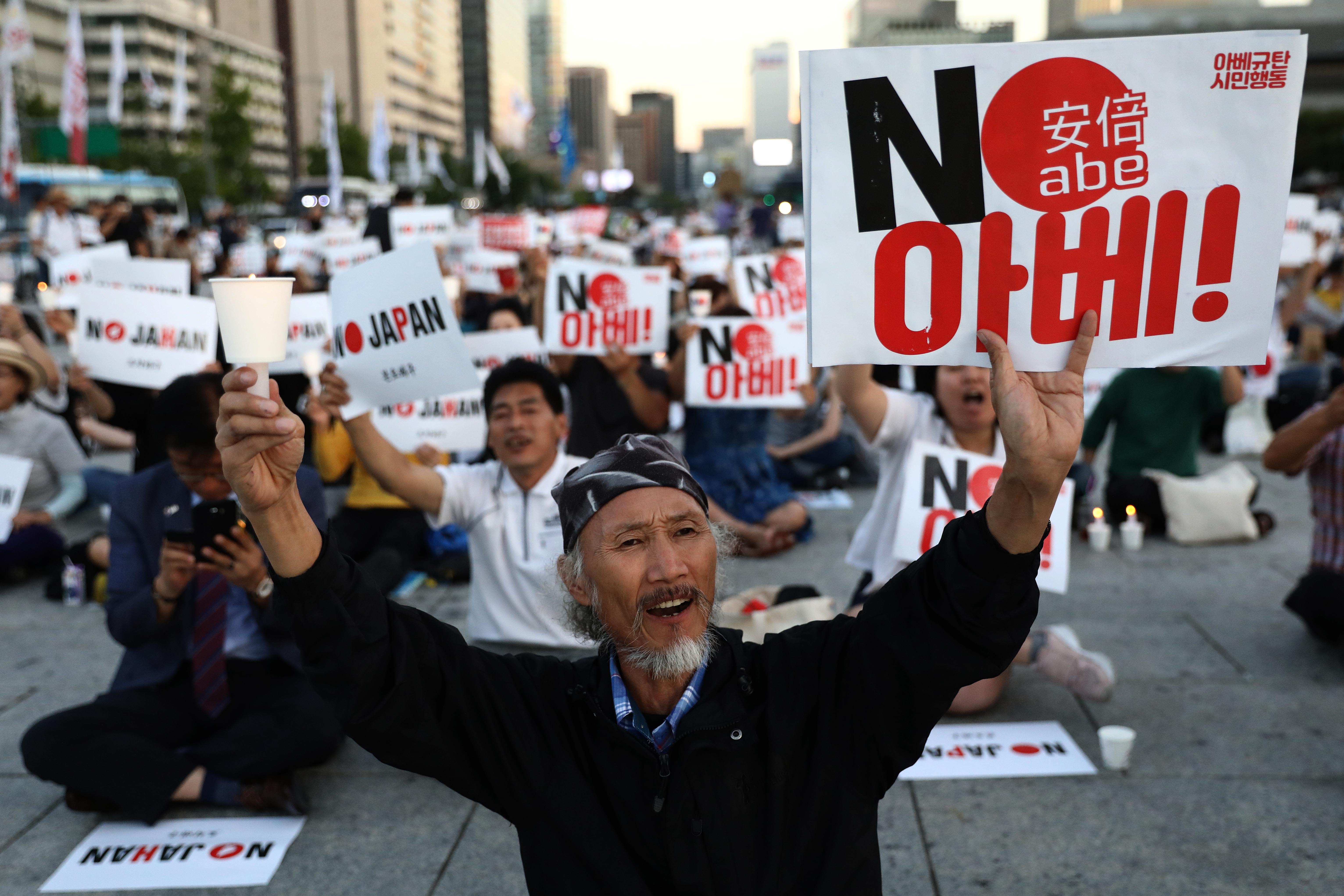 South Koreans participate in a rally to denounce Japan's new trade restrictions and Japanese Prime Minister Shinzo Abe on August 24, 2019 in Seoul, South Korea. The bilateral relationship between Japan and South Korea has worsened recently, with the Japanese government's decision to remove South Korea from so-called 'white list' of trade restriction. Some Korean protesters, students and conservative shop owners have started boycotting Japanese products.