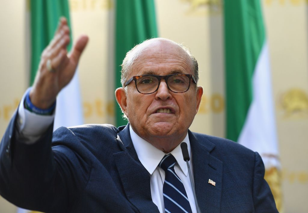 Rudy Giuliani, Former Mayor of New York City speaks to the Organization of Iranian American Communities during their march to urge  recognition of the Iranian people's right for regime change,  outside the United Nations Headquarters in New York on September 24, 2019.