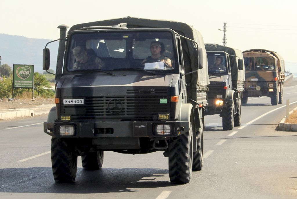 Vehicles of Turkish Armed Forces, carrying Turkish commandos, are on the way to support the units at border in Hatay, Turkey on Oct. 8, 2019