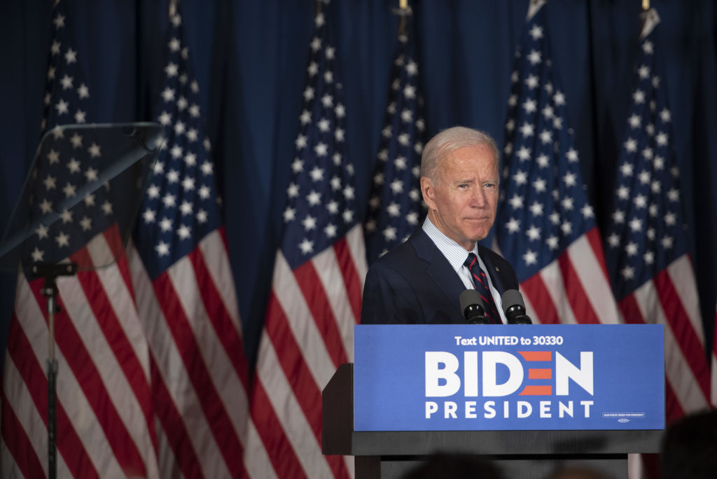 Former Vice President Joe Biden, 2020 Democratic presidential candidate, pauses while speaking at a town hall event in Rochester, New Hampshire, on Wednesday, Oct. 9, 2019.