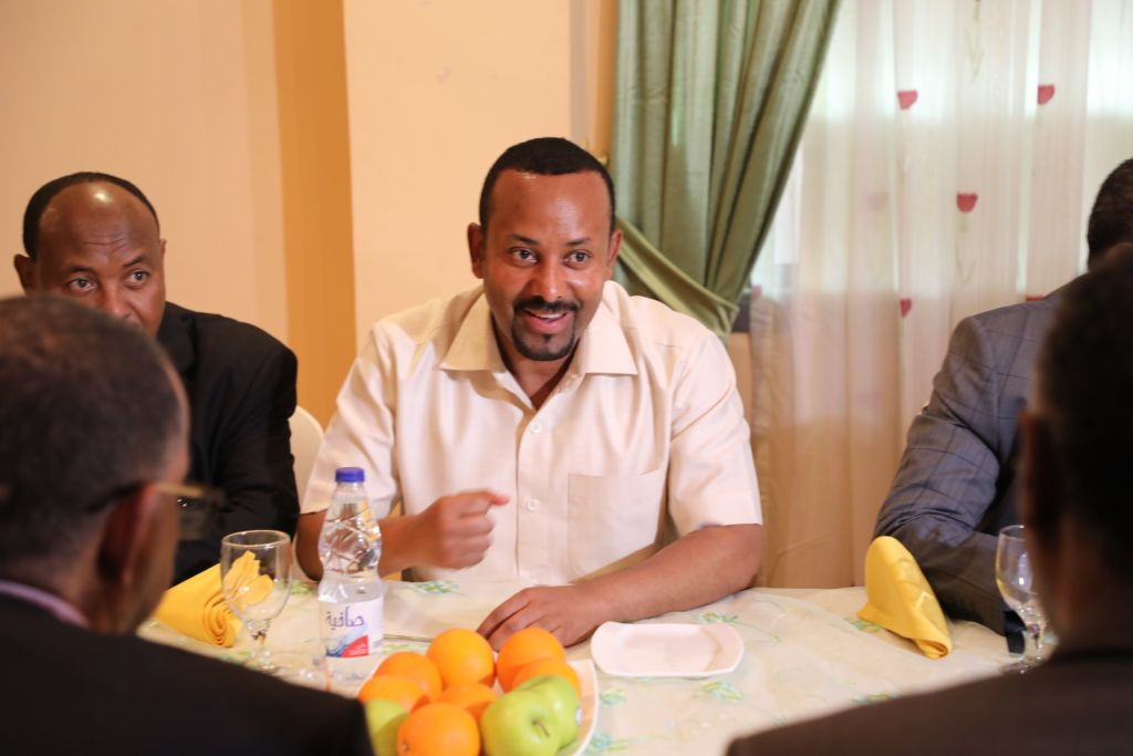 Ethiopia's Prime Minister Abiy Ahmed speaking during the mediate talks with a delegation of the Alliance of Freedom and Change, after ruling military council intervened the pro-democracy demonstrators that left more than 100 people dead, at the Ethiopian Embassy in Khartoum, Sudan on June 07, 2019