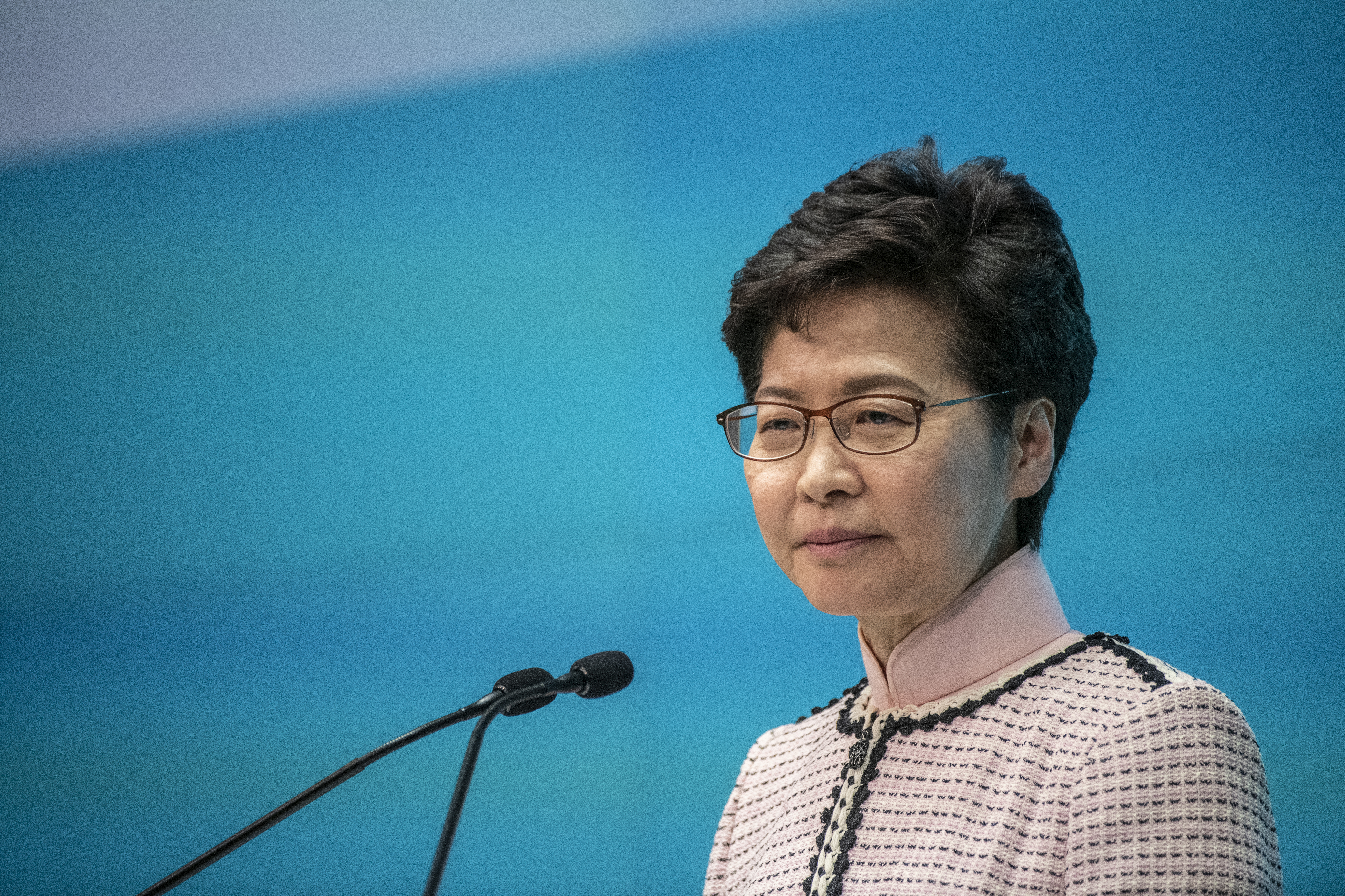 Hong Kong Chief Executive Carrie Lam is seen during a press conference in Hong Kong, China, October 16, 2019