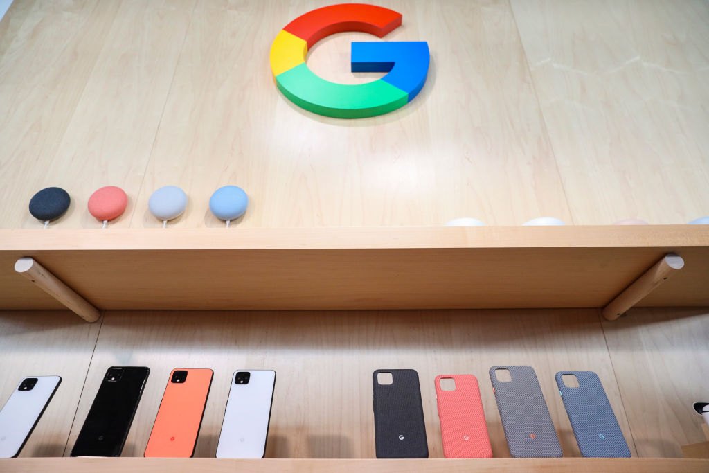 NEW YORK, NY - OCTOBER 15: The new Google Pixel 4 smartphone and cases are displayed during a Google launch event on October 15, 2019 in New York City. The new Pixel 4 and Pixel 4 XL phone starts at $799 and will begin shipping on Oct. 24. (Photo by Drew Angerer/Getty Images)
