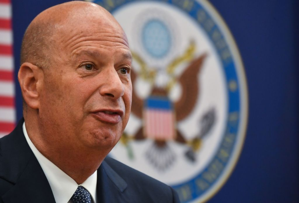 Gordon Sondland, the United States Ambassador to the European Union, addresses the media during a press conference at the US Embassy to Romania in Bucharest on Sept. 5, 2019.