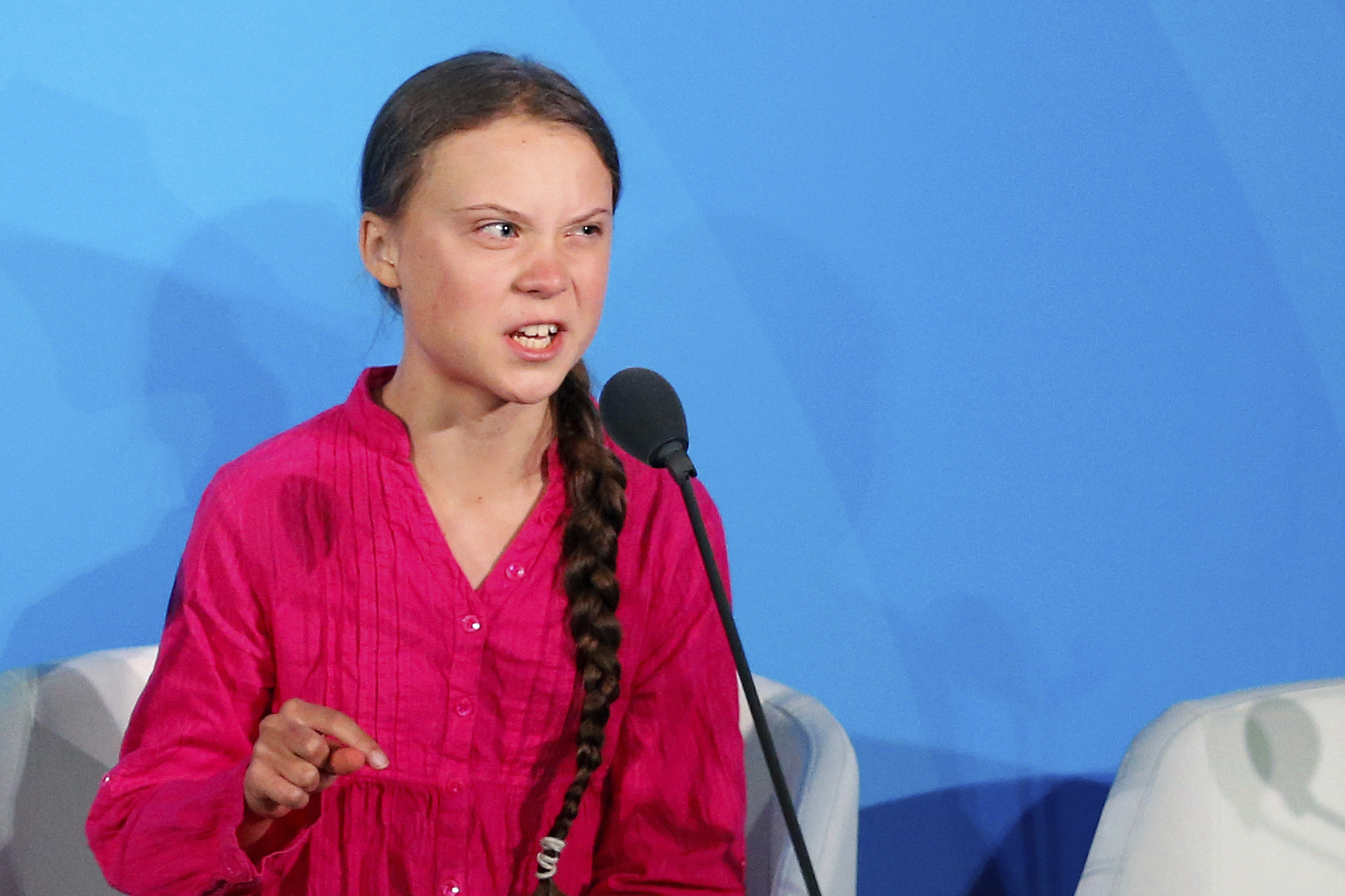 Youth activist Greta Thunberg addresses the Climate Action Summit at the United Nations on Sept. 23, 2019 in New York City.