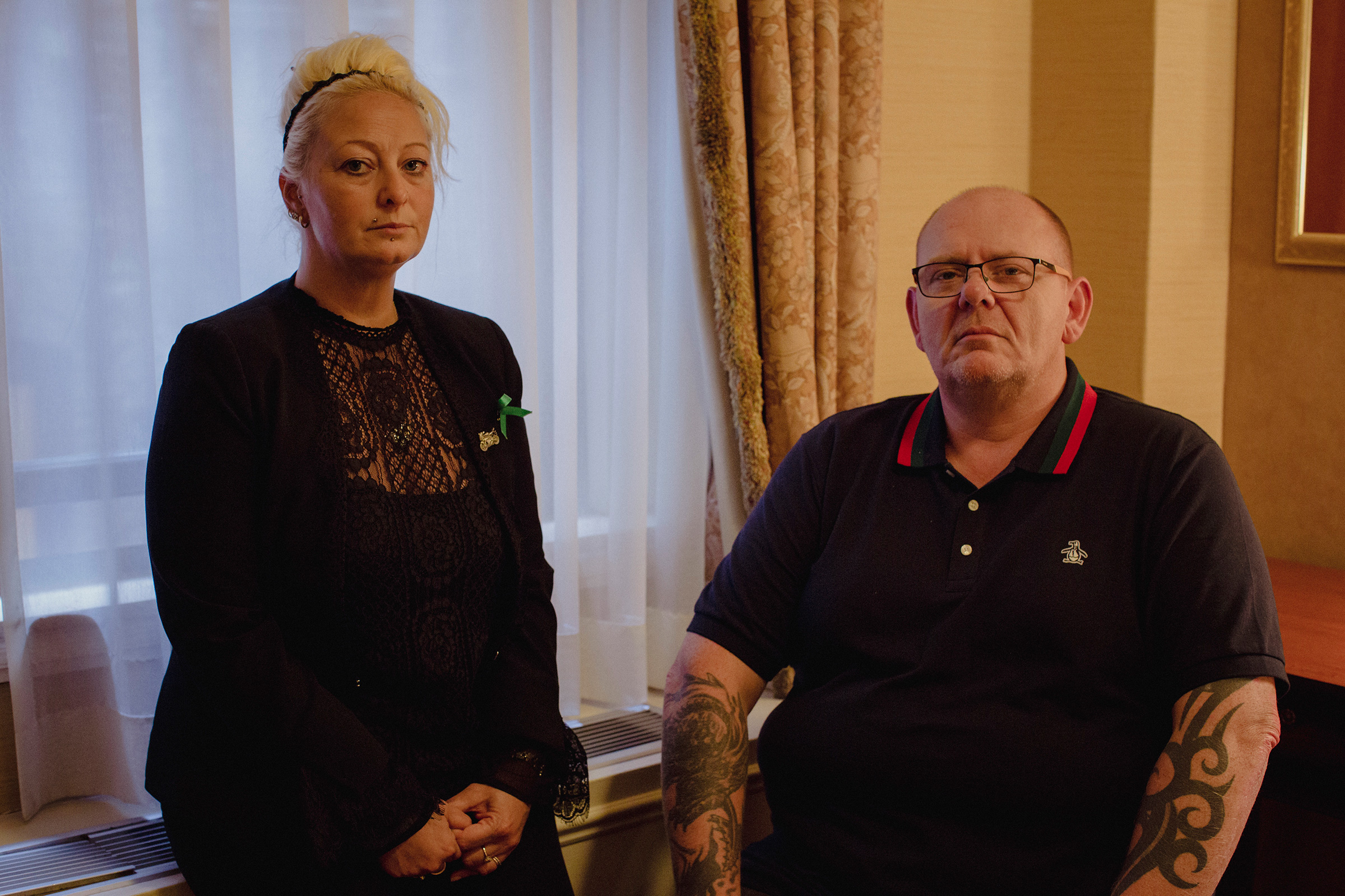 Charlotte Charles and Tim Dunn, the parents of Harry Dunn, a 19-year-old who was killed when a car crashed into his  motorbike on August 27.