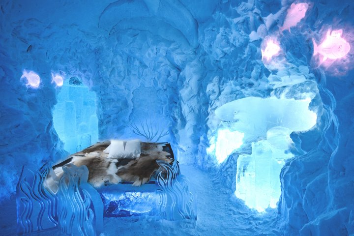 Inside the Ice Hotel in Sweden.