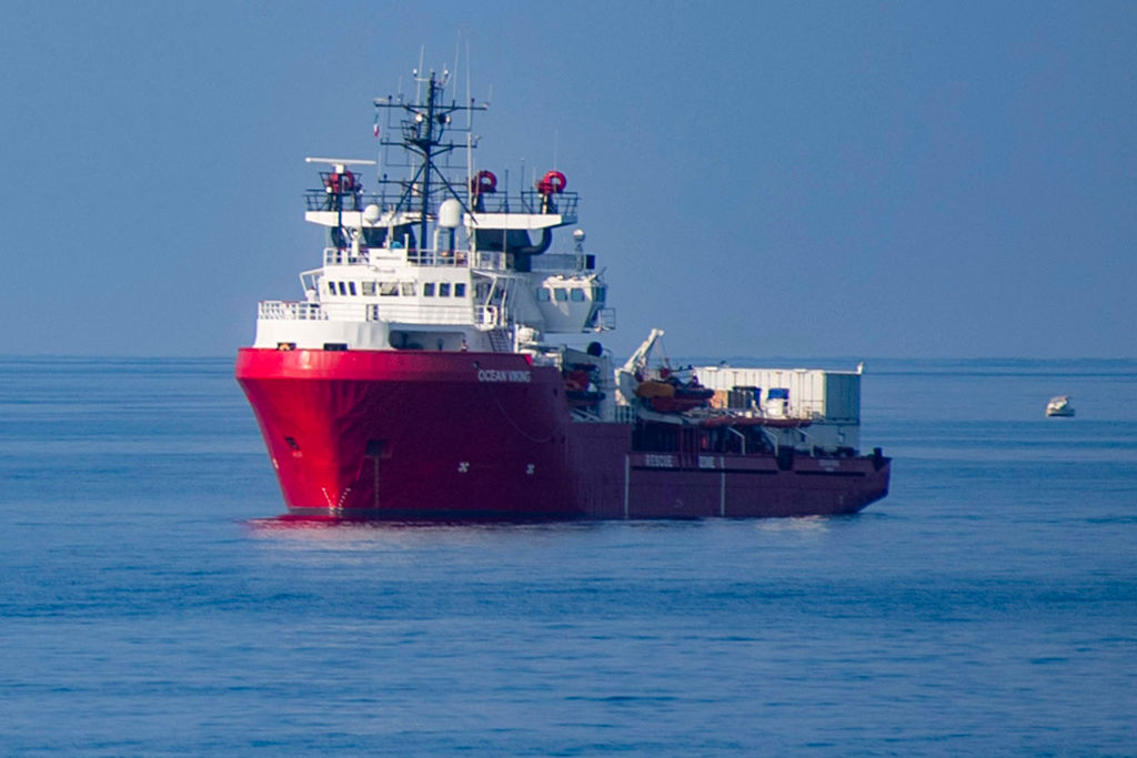 The Ocean Viking rescue ship in the Mediterranean Sea on September 15, 2019.