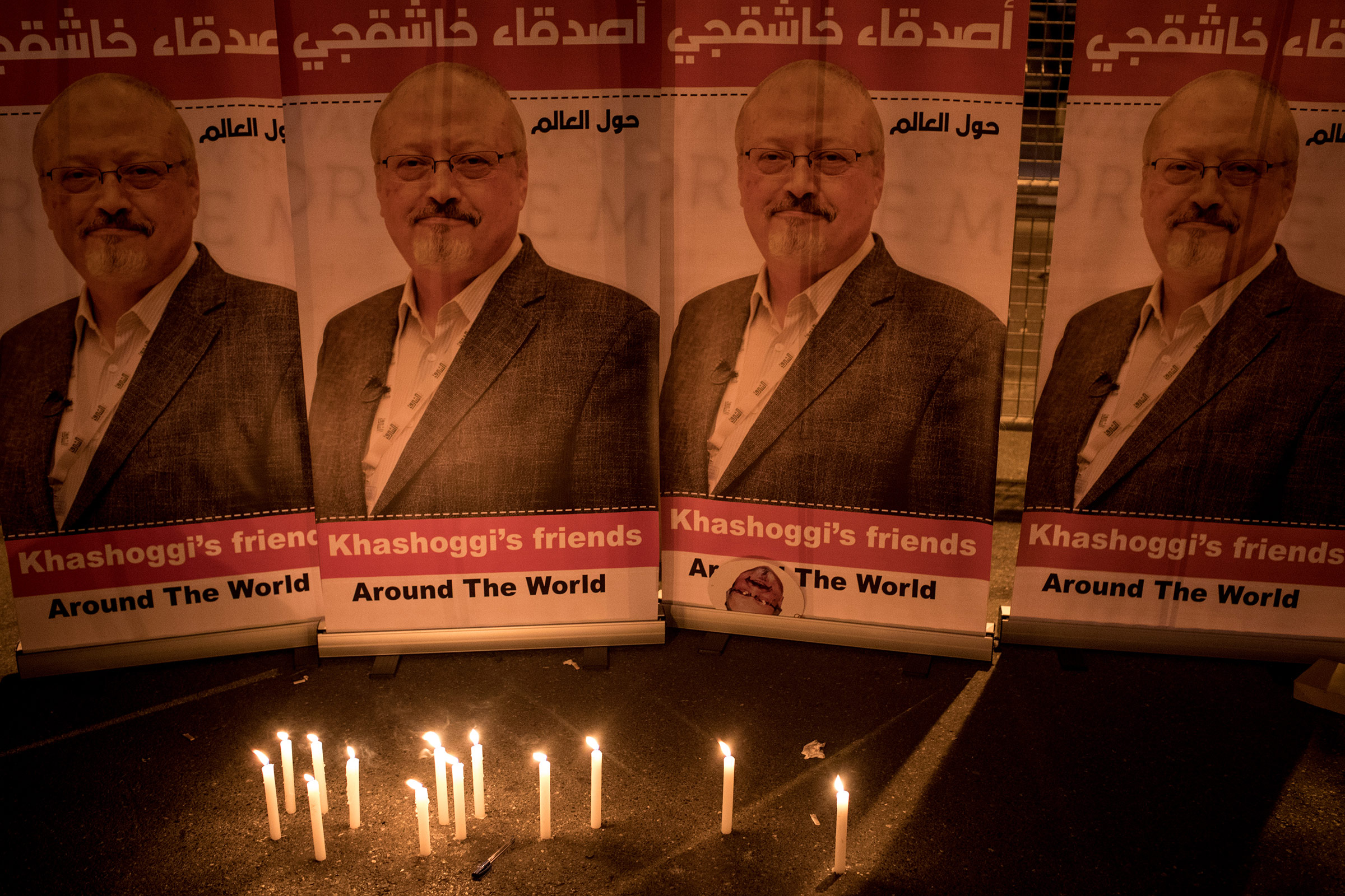 A candle light vigil is held to remember journalist Jamal Khashoggi outside the Saudi Arabia consulate on Oct. 25, 2018 in Istanbul.