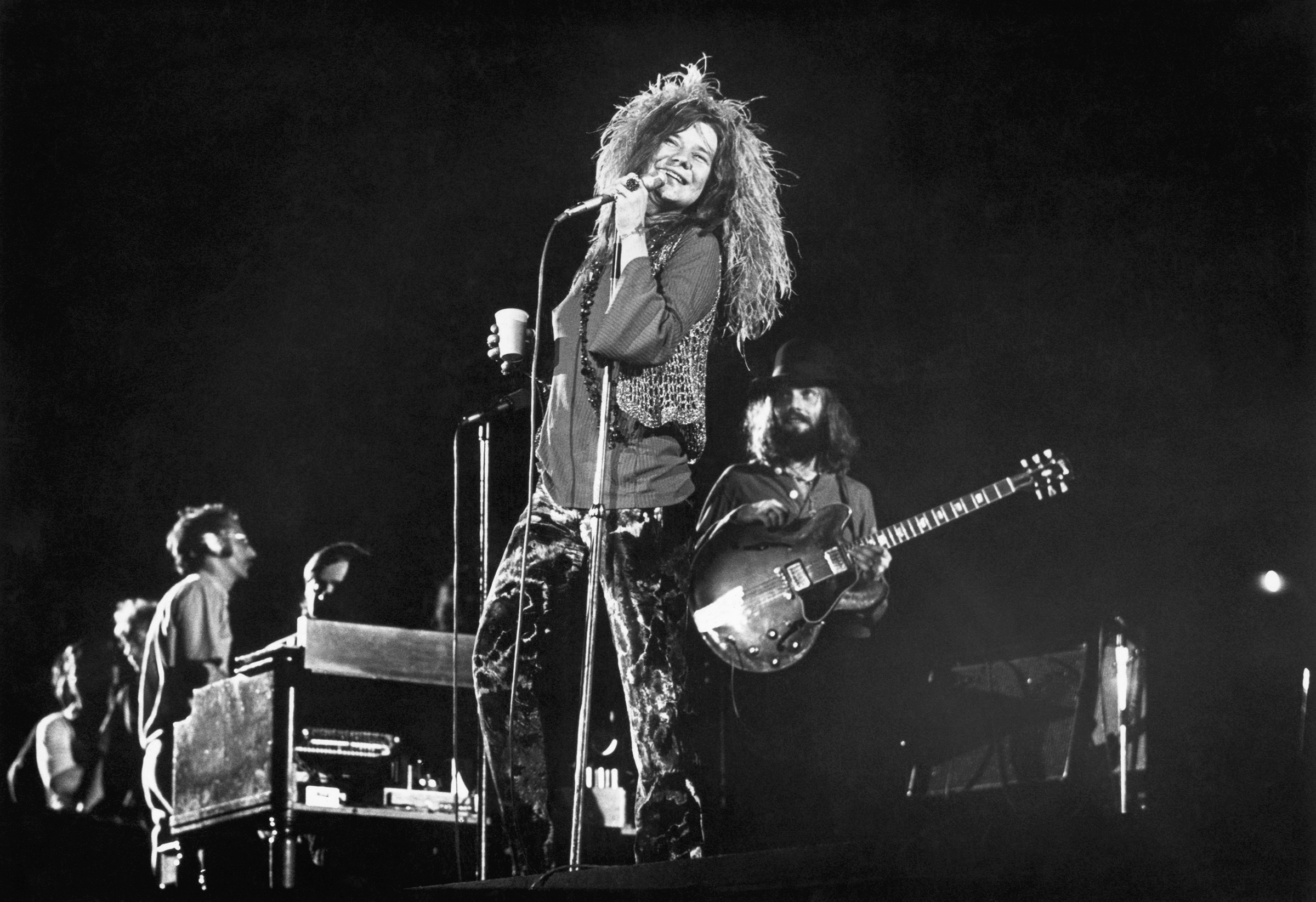Janis Joplin and her final group, the Full Tilt Boogie Band, perform at the Festival for Peace at Shea Stadium in August 1970.