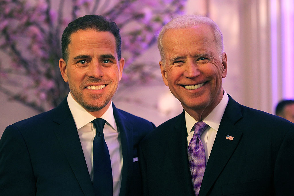 Hunter Biden (L) and U.S. Vice President Joe Biden attend the World Food Program USA's Annual McGovern-Dole Leadership Award Ceremony at Organization of American States on April 12, 2016 in Washington, DC.