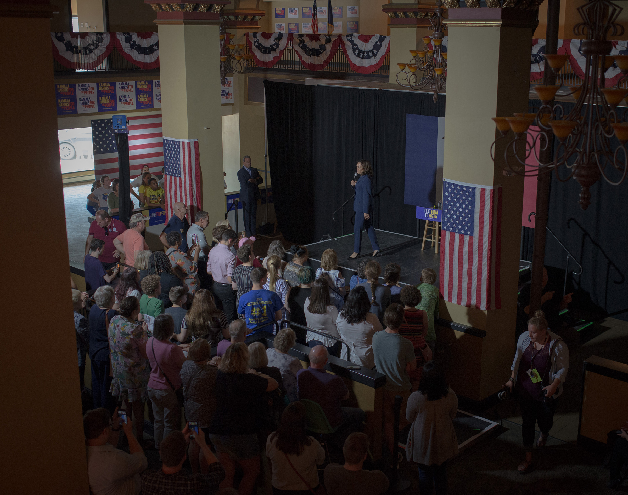 Harris speaks at her town hall in Waterloo, Iowa, on Sept. 20, 2019.