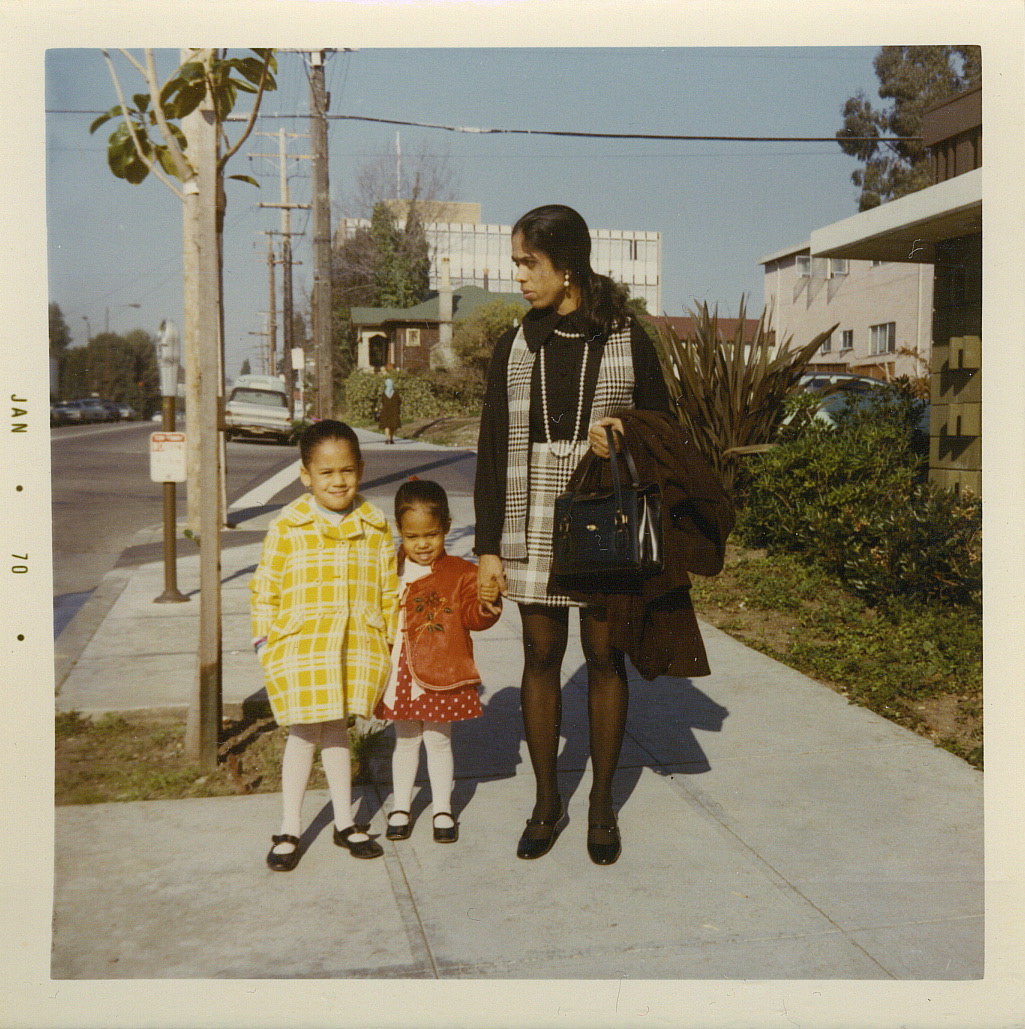Kamala Harris with her younger sister, Maya, and their mother outside of their apartment on Milvia Street in Jan. 1970.
