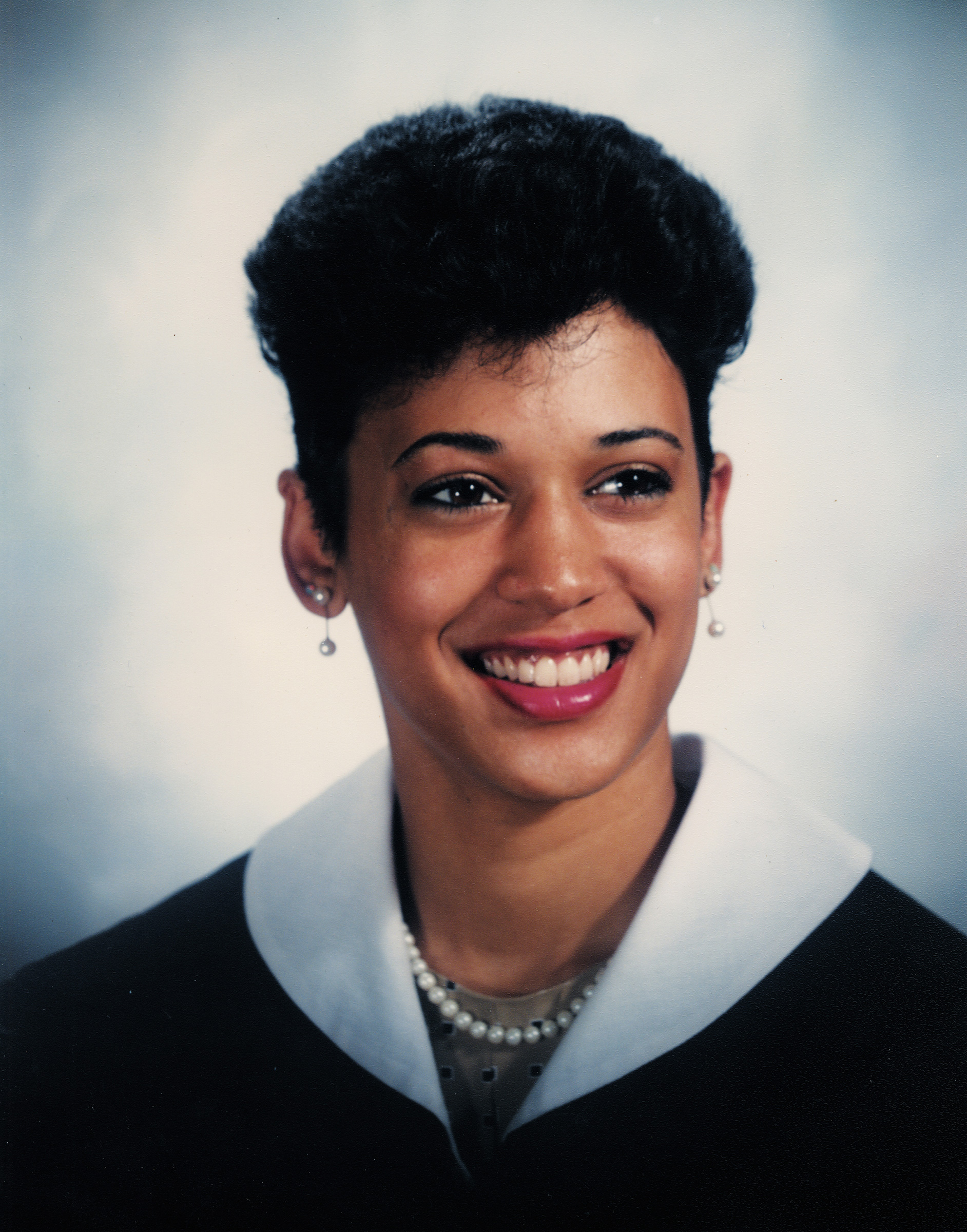 Harris graduates from Howard University, where she was involved with the student government, 1986.